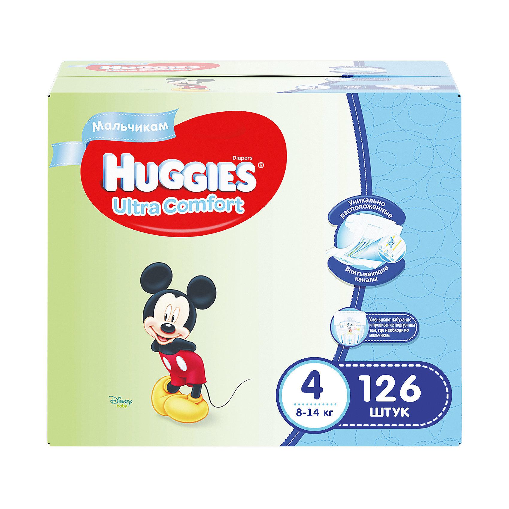 Подгузники Huggies Ultra Comfort для мальчиков Disney Box (4) 8-14 кг, 126 шт. (42х3)Подгузники классические<br>С первых дней жизни мальчики и девочки такие разные.<br><br>Новые подгузники Huggies Ultra Comfort созданы специально для мальчиков и специально для девочек. Для лучшего впитывания распределяющий слой в этих подгузниках расположен там, где это нужнее всего: по центру для девочек и выше для мальчиков. Huggies Ultra Comfort изготовлены из мягких материалов с микропорами, которые позволяют коже «дышать». Специальные тянущиеся застежки с закругленными краями надежно фиксируют подгузник, а широкий суперэластичный поясок позволяет малышам свободно двигаться.<br><br>Ключевые преимущества новых Huggies Ultra Comfort:<br><br>- Широкий суперэластичный поясок помогает надежно фиксировать подгузник по спинке малыша и защищать кожу от натирания<br>- Анатомическая форма. Изогнутые резиночки повторяют анатомическую форму подгузника, помогая защитить от натирания между ножками <br>- Ультра мягкий внутренний слой по всей длине подгузника оберегает кожу малыша.<br>- Специально разработанный слой Dry Touch впитывает за секунды и помогает запереть влагу внутри.<br>- Яркие эксклюзивные подгузники c дизайном от Disney подчеркивают индивидуальность маленьких модников и модниц.<br><br>Huggies Ultra Comfort для мальчиков и для девочек — потому что они такие разные.<br><br>Дополнительная информация:<br><br>Для мальчиков.<br>Размер: 4, для малышей от 8 до 14 кг.<br>В упаковке: 126 шт.<br><br>Подгузники Huggies Ultra Comfort для мальчиков Disney Box (4) 8-14 кг, 126 шт. (42х3) можно купить в нашем интернет-магазине.<br><br>Ширина мм: 402<br>Глубина мм: 242<br>Высота мм: 340<br>Вес г: 4788<br>Возраст от месяцев: 6<br>Возраст до месяцев: 24<br>Пол: Мужской<br>Возраст: Детский<br>SKU: 3389827