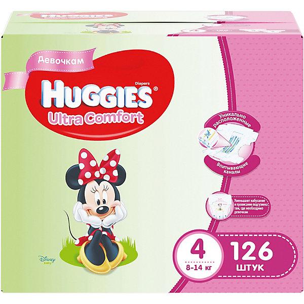 Подгузники Huggies Ultra Comfort4 Disney Box для девочек, 8-14 кг, 126 шт. (42х3)Подгузники классические<br>С первых дней жизни мальчики и девочки такие разные.<br><br>Новые подгузники Huggies Ultra Comfort созданы специально для мальчиков и специально для девочек. Для лучшего впитывания распределяющий слой в этих подгузниках расположен там, где это нужнее всего: по центру для девочек и выше для мальчиков. Huggies Ultra Comfort изготовлены из мягких материалов с микропорами, которые позволяют коже «дышать». Специальные тянущиеся застежки с закругленными краями надежно фиксируют подгузник, а широкий суперэластичный поясок позволяет малышам свободно двигаться.<br><br>Ключевые преимущества новых Huggies Ultra Comfort:<br><br>- Широкий суперэластичный поясок помогает надежно фиксировать подгузник по спинке малыша и защищать кожу от натирания<br>- Анатомическая форма. Изогнутые резиночки повторяют анатомическую форму подгузника, помогая защитить от натирания между ножками <br>- Ультра мягкий внутренний слой по всей длине подгузника оберегает кожу малыша.<br>- Специально разработанный слой Dry Touch впитывает за секунды и помогает запереть влагу внутри.<br>- Яркие эксклюзивные подгузники c дизайном от Disney подчеркивают индивидуальность маленьких модников и модниц.<br><br>Huggies Ultra Comfort для мальчиков и для девочек — потому что они такие разные.<br><br>Дополнительная информация:<br><br>Для девочек.<br>Размер: 4, для малышей от 8 до 14 кг.<br>В упаковке: 126 шт.<br><br>Подгузники Huggies Ultra Comfort для девочек Disney Box (4) 8-14 кг, 126 шт. (42х3) можно купить в нашем интернет-магазине.<br><br>Ширина мм: 402<br>Глубина мм: 242<br>Высота мм: 340<br>Вес г: 4788<br>Возраст от месяцев: 6<br>Возраст до месяцев: 24<br>Пол: Женский<br>Возраст: Детский<br>SKU: 3389828