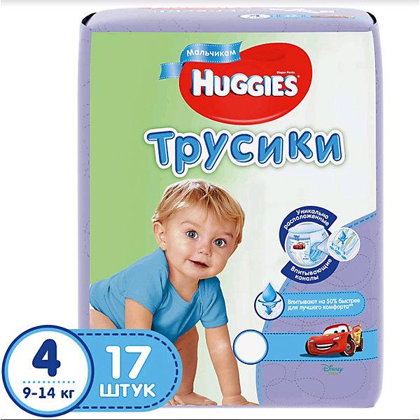 Трусики-подгузники Huggies 4 для мальчиков 9-14 кг, 17 шт.Трусики-подгузники<br>Встречайте новинку! Huggies трусики-подгузники для девочек и для мальчиков.<br><br>Легко снимаются. Легко надеваются. Великолепно сидят. Взрослея, ребенок становится более активным и непоседливым. Каждый раз процесс смены подгузника становится более трудным и менее приятным для него. Открытый подгузник быстрее обвисает, становится скомканным и сползает вниз, стесняя движение. Малыши ведь так не любят, когда что-то отвлекает их от любимого занятия.<br><br>С самого рождения родители окружают своего ребенка теплом и любовью, стараясь подчеркнуть мальчик у них или девочка. Расширение ассортимента товаров для мальчиков и для девочек — естественное стремление производителя помочь родителям в заботе за их малышом.<br><br>Надежное впитывание. Специальное расположение впитывающего слоя для мальчиков и для девочек. Дизайн как у настоящих трусиков.<br><br>Дополнительная информация:<br><br>- Дизайн: Тачки (Cars)<br>- Для мальчиков.<br>- Размер: 4, 9-14 кг.<br>- В упаковке: 17 шт.<br><br>ВНИМАНИЕ!!! Товар представлен в различных дизайнах упаковки, при этом  качество самого товара не отличается.<br>К сожалению, заранее выбрать определенный вариант нельзя.<br><br>Трусики-подгузники Huggies 4 для мальчиков 9-14 кг, 17 шт. можно купить в нашем интернет-магазине.<br><br>Ширина мм: 224<br>Глубина мм: 180<br>Высота мм: 125<br>Вес г: 663<br>Возраст от месяцев: 6<br>Возраст до месяцев: 24<br>Пол: Мужской<br>Возраст: Детский<br>SKU: 3389829