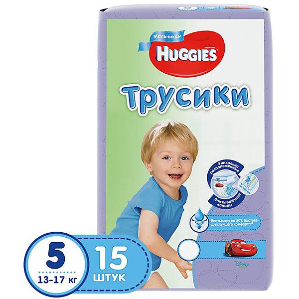 Трусики-подгузники Huggies 5 для мальчиков 13-17 кг, 15 шт.Трусики-подгузники<br>Легко снимаются. Легко надеваются. Великолепно сидят. Взрослея, ребенок становится более активным и непоседливым. Каждый раз процесс смены подгузника становится более трудным и менее приятным для него. Открытый подгузник быстрее обвисает, становится скомканным и сползает вниз, стесняя движение. Малыши ведь так не любят, когда что-то отвлекает их от любимого занятия.<br><br>С самого рождения родители окружают своего ребенка теплом и любовью, стараясь подчеркнуть мальчик у них или девочка. Расширение ассортимента товаров для мальчиков и для девочек — естественное стремление производителя помочь родителям в заботе за их малышом.<br><br>Надежное впитывание. Специальное расположение впитывающего слоя для мальчиков и для девочек. Дизайн как у настоящих трусиков.<br><br>Дополнительная информация:<br><br>- Для мальчиков.<br>- Размер: 5, 13-17 кг.<br>- В упаковке: 15 шт.<br>- Дизайн: Тачки (Cars)<br><br>ВНИМАНИЕ!!! Товар представлен в различных дизайнах упаковки, при этом  качество самого товара не отличается. К сожалению, заранее выбрать определенный вариант нельзя.<br><br>Трусики-подгузники Huggies 5 для мальчиков 13-17 кг, 15 шт. можно купить в нашем интернет-магазине.<br><br>Ширина мм: 245<br>Глубина мм: 155<br>Высота мм: 125<br>Вес г: 630<br>Возраст от месяцев: 6<br>Возраст до месяцев: 24<br>Пол: Мужской<br>Возраст: Детский<br>SKU: 3389831