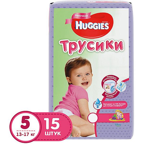 Трусики-подгузники Huggies 5 для девочек 13-17 кг, 15 шт.Трусики-подгузники<br>Встречайте новинку! Huggies трусики-подгузники для девочек и для мальчиков.<br><br>Легко снимаются. Легко надеваются. Великолепно сидят. Взрослея, ребенок становится более активным и непоседливым. Каждый раз процесс смены подгузника становится более трудным и менее приятным для него. Открытый подгузник быстрее обвисает, становится скомканным и сползает вниз, стесняя движение. Малыши ведь так не любят, когда что-то отвлекает их от любимого занятия.<br><br>С самого рождения родители окружают своего ребенка теплом и любовью, стараясь подчеркнуть мальчик у них или девочка. Расширение ассортимента товаров для мальчиков и для девочек — естественное стремление производителя помочь родителям в заботе за их малышом.<br><br>Надежное впитывание. Специальное расположение впитывающего слоя для мальчиков и для девочек. Дизайн как у настоящих трусиков.<br><br>Дополнительная информация:<br><br>- Для девочек.<br>- Размер: 5, 13-17 кг.<br>- В упаковке: 15 шт.<br><br>ВНИМАНИЕ!!! Товар представлен в различных дизайнах упаковки, при этом  качество самого товара не отличается. К сожалению, заранее выбрать определенный вариант нельзя.<br><br>Трусики-подгузники Huggies 5 для девочек 13-17 кг, 15 шт. можно купить в нашем интернет-магазине.<br><br>Ширина мм: 245<br>Глубина мм: 155<br>Высота мм: 125<br>Вес г: 630<br>Возраст от месяцев: 6<br>Возраст до месяцев: 24<br>Пол: Женский<br>Возраст: Детский<br>SKU: 3389832