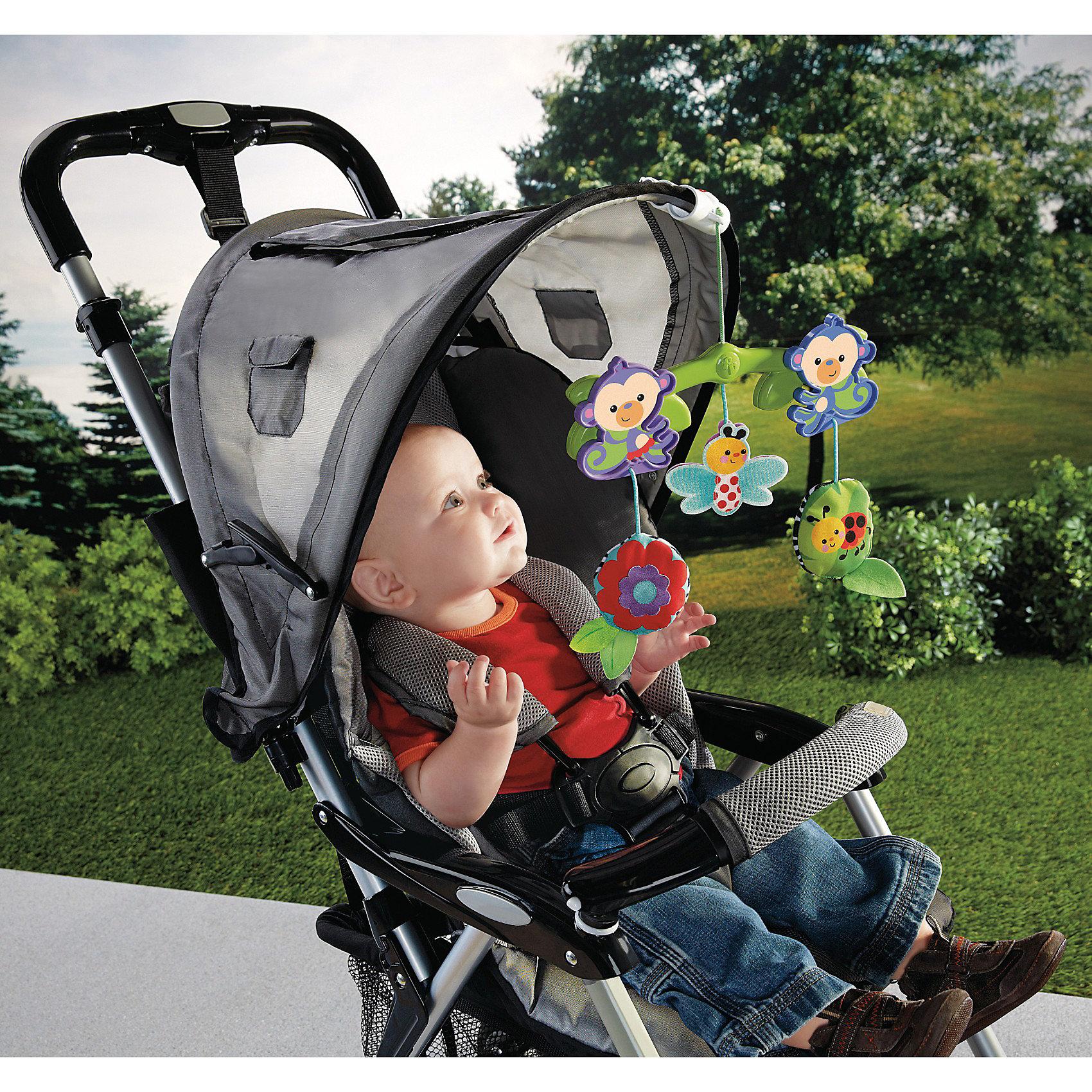 Крепление к коляске Обезьянки из тропического леса, Fisher-PriceПодвески<br>Крепление к коляске Обезьянки из тропического леса Fisher-Price (Фишер-Прайс) с добрыми и красочными игрушками легко крепится к навесам большинства колясок. Ребенок будет с удовольствием разглядывать, тянуться и бить по игрушкам - насекомым и цветку, что разовьет мелкую моторику малыша и разнообразит прогулки. Потешьте слух малыша веселым звоном, а его зрение - игрой с двумя забавными обезьянками, которые качаются туда-сюда под действием движения коляски! Игрушка оснащена специальными зажимами, подходящими для большинства колясок.<br><br>Дополнительная информация:<br><br>- Игрушка завивает моторику, зрение, слух;<br>- Зверьки качаются по ходу движения коляски;<br>- Игрушка подходит к большинству колясок, благодаря удобному универсальному креплению;<br>- Яркий привлекательный дизайн;<br>- Размер: 5,5 х 28 х 20,5 см;<br>- Вес: 0,34 кг.<br><br>Крепление к коляске Обезьянки из тропического леса, Fisher-Price (Фишер-Прайс) можно купить в нашем интернет-магазине.<br><br>Ширина мм: 256<br>Глубина мм: 240<br>Высота мм: 53<br>Вес г: 189<br>Возраст от месяцев: 3<br>Возраст до месяцев: 12<br>Пол: Унисекс<br>Возраст: Детский<br>SKU: 3399165