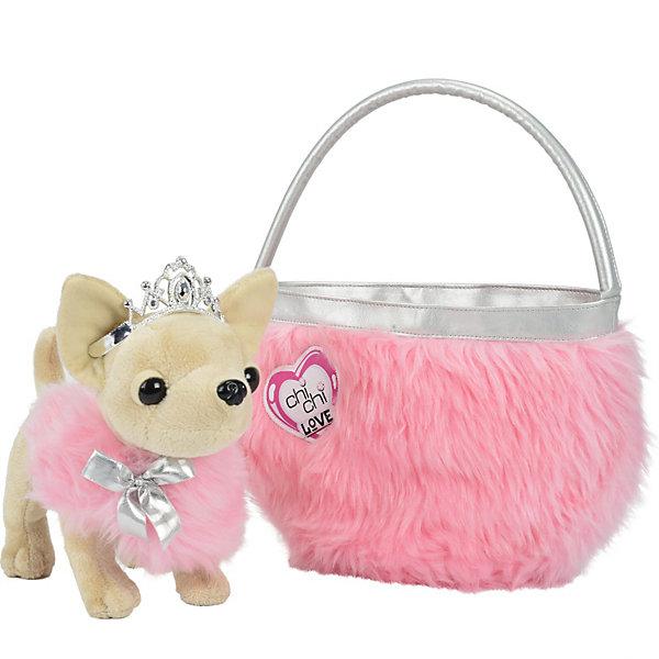 Плюшевая собачка Чихуахуа принцесса, с розовой сумкой, 20 см, SimbaМягкие игрушки животные<br>Плюшевая собачка Чихуахуа Принцесса, лапки гнутся. В комплект входят: пушистая сумочка, накидка и диадема.<br>Ширина мм: 310; Глубина мм: 299; Высота мм: 175; Вес г: 540; Возраст от месяцев: 60; Возраст до месяцев: 96; Пол: Женский; Возраст: Детский; SKU: 3399827;