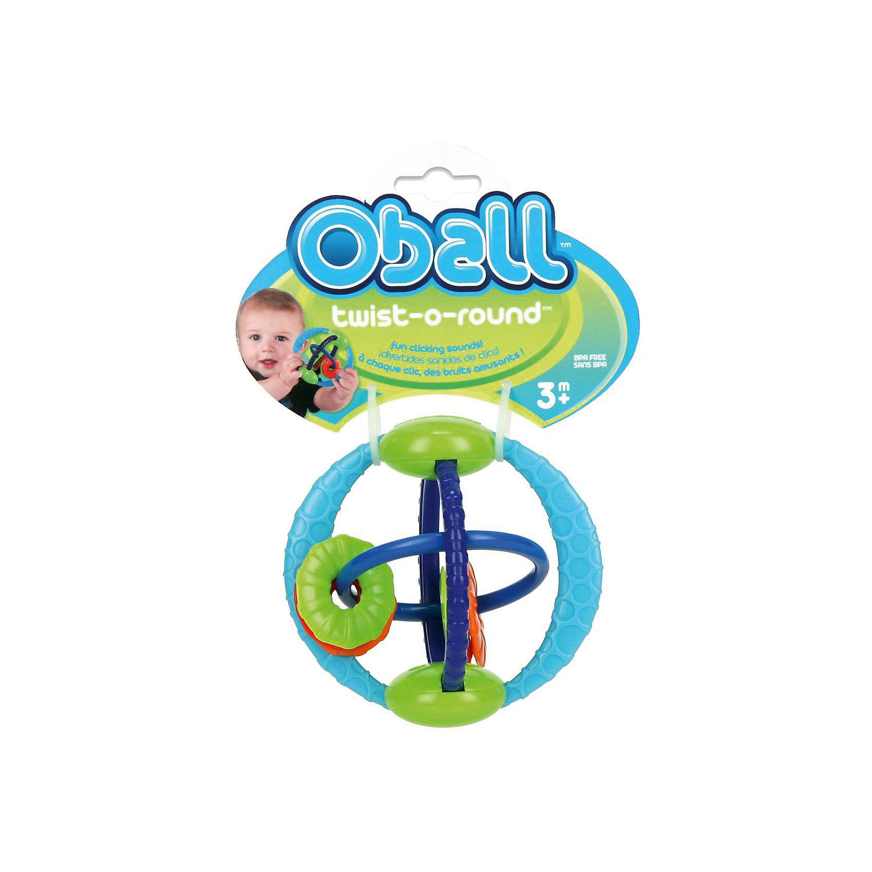 Развивающая игрушка Twist-O-Round, OballУникальная развивающая игрушка-шар с вращающимися кольцами издает щелкающие звуки!<br><br>ОСОБЕННОСТИ<br>Все элементы игрушки двигаются и легко перемещаются<br>6 цветных бусинок  разной формы для развития тактильных ощущений<br>При движении колец игрушка забавно трещит благодаря «щелкающему» механизму!<br>Рельефные кольца и бусинки для кусания успокоят нежные десна малыша<br>Легко хватать маленькими ручками<br><br>Дополнительные характеристики<br> Не содержит вредных веществ<br> Размеры товара: 11*11*9 см<br> Размеры коробки: 10*1<br><br>Ширина мм: 183<br>Глубина мм: 139<br>Высота мм: 68<br>Вес г: 84<br>Возраст от месяцев: 3<br>Возраст до месяцев: 18<br>Пол: Унисекс<br>Возраст: Детский<br>SKU: 3400188