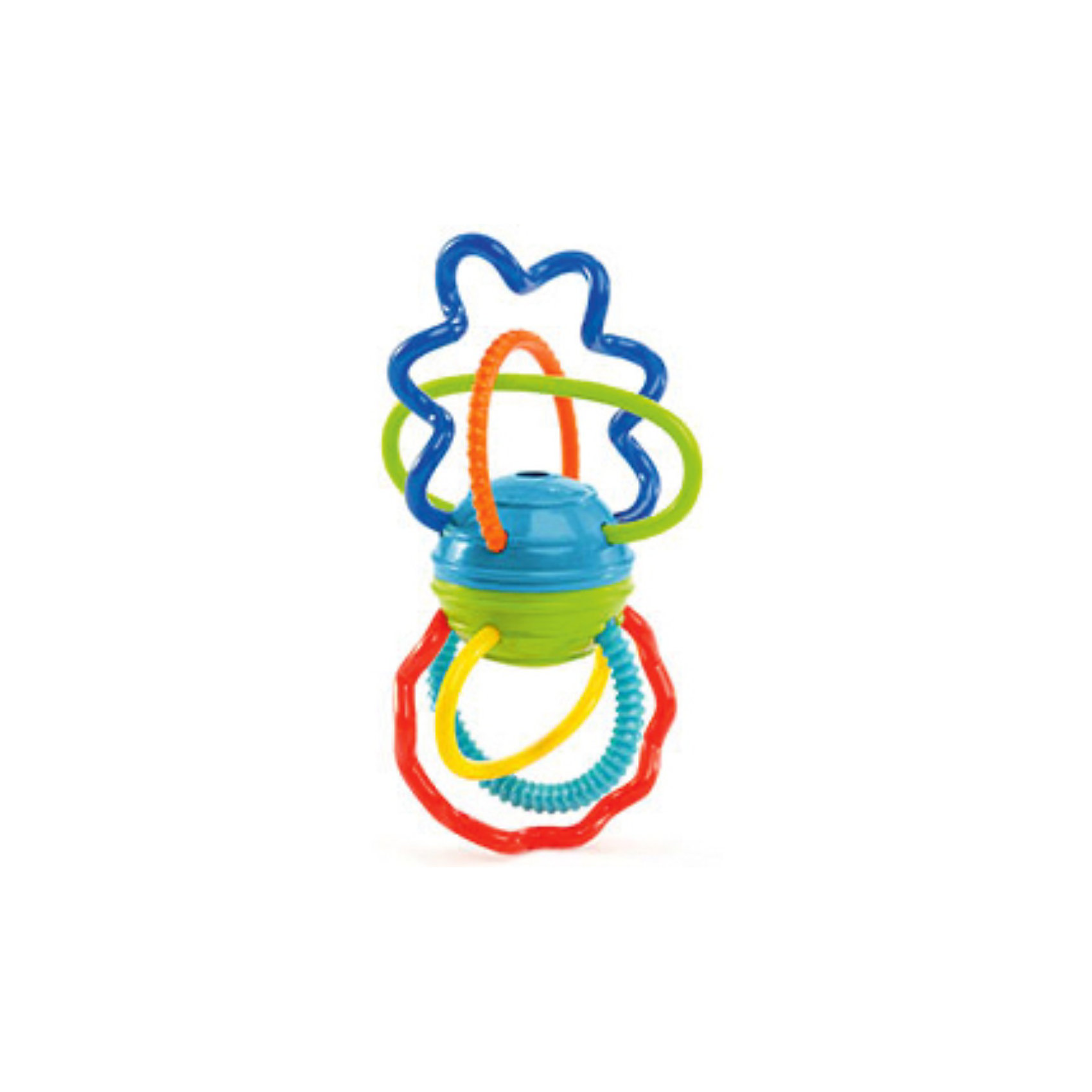 Развивающая игрушка Разноцветная гантелька, OballЯркие цвета, необычные спиральки и щелкающие звуки!<br><br>ОСОБЕННОСТИ<br>Яркие спиральки и дуги разной длины и  формы легко гнутся, развивают тактильные ощущения и зрение<br>Рельефные поверхности для кусания успокоят нежные десна малыша<br>При вращении деталей шарика в центре игрушка забавно трещит благодаря «щелкающему» механизму!<br>Легко хватать маленькими ручками<br><br><br>Дополнительные характеристики<br> Не содержит вредных веществ<br> Размеры товара: 15*8*9 см<br> Размеры коробки: 17*5*14 см<br><br>Ширина мм: 190<br>Глубина мм: 121<br>Высота мм: 66<br>Вес г: 74<br>Возраст от месяцев: 3<br>Возраст до месяцев: 36<br>Пол: Унисекс<br>Возраст: Детский<br>SKU: 3400189