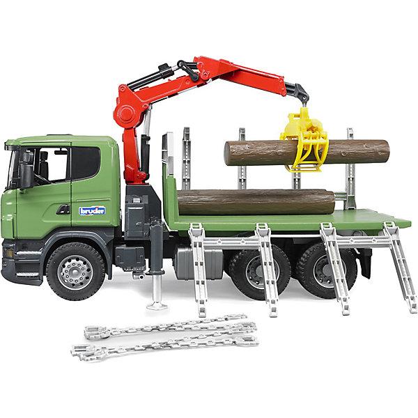 Лесовоз Scania с портативным краном и брёвнами, Bruder