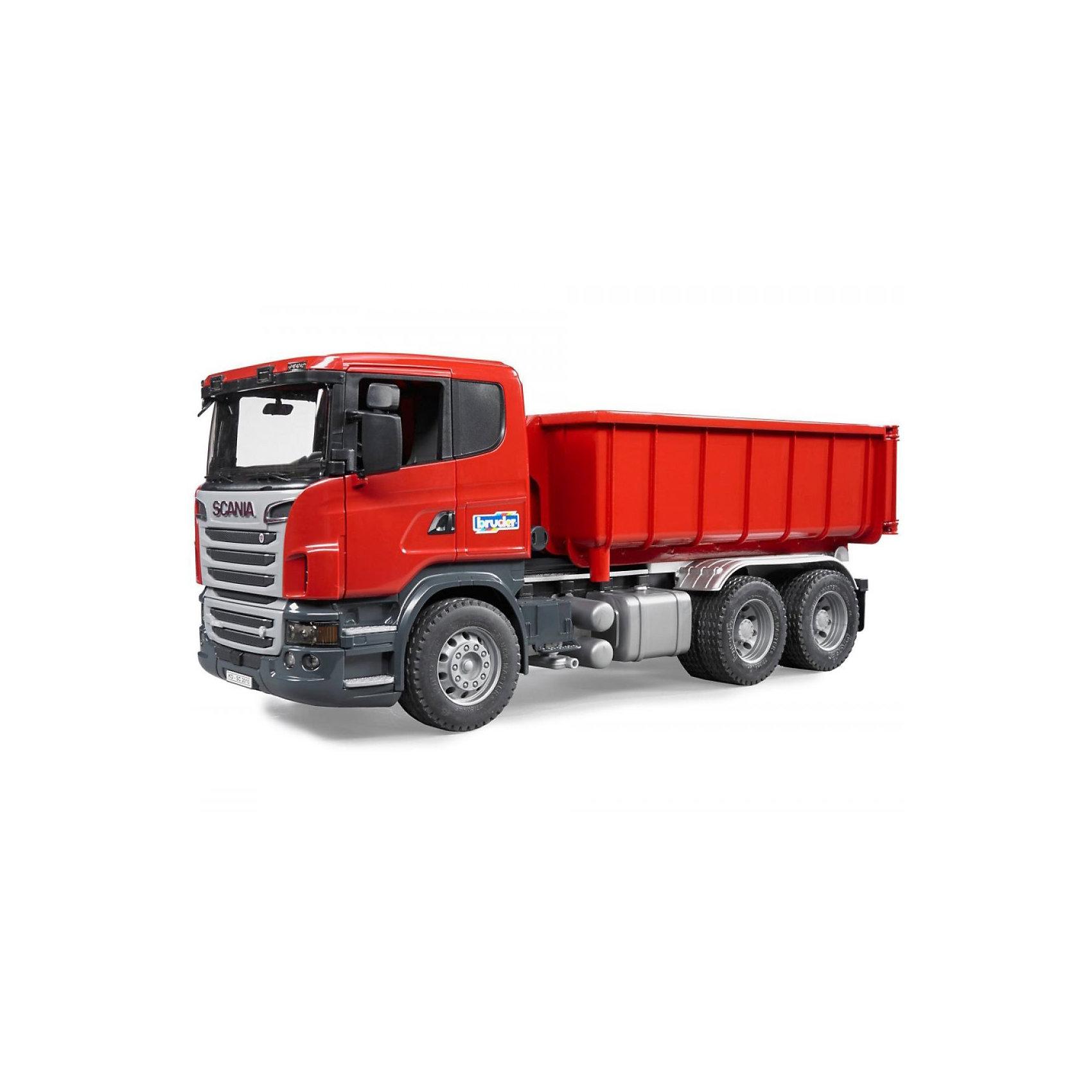 Самосвал-контейнеровоз Scania, BruderМашинки<br>Самосвал-контейнеровоз Scania, Bruder (Брудер) - это качественная детализированная игрушка с подвижными элементами.<br>Мощный самосвал-контейнеровоз Scania на трехосной платформе от немецкого производителя игрушек Bruder (Брудер) в точности повторяет реально существующую машину. Все детали игрушки выполнены с максимальной точностью и подробной детализацией. У машины открываются двери, складываются зеркала, откидывается кабина, открывая доступ к двигателю. Лобовое стекло машины изготовлено из прозрачного пластика. Внутри кабины все как в настоящей машине: сидение водителя, декоративная панель управления, крутящийся руль. Контейнер съемный. Для того чтобы снять или установить контейнер, на раме предусмотрен специальный механизм (мультилифт). Задний борт контейнера открывается. К модели можно подсоединить модуль, включающий световое сопровождение и звук мотора, который приобретается отдельно. Игрушка изготовлена из высококачественного пластика, устойчивого к износу и ударам. Продукция сертифицирована, экологически безопасна для ребенка, использованные красители не токсичны и гипоаллергенны.<br><br>Дополнительная информация:<br><br>- Размер машины: 53,5 х 18,8 х 20,5 см.<br>- Масштаб 1:16<br>- Материал: высококачественный пластик<br>- Цвет: красный<br><br>Самосвал-контейнеровоз Scania, Bruder (Брудер) можно купить в нашем интернет-магазине.<br><br>Ширина мм: 584<br>Глубина мм: 236<br>Высота мм: 200<br>Вес г: 2280<br>Возраст от месяцев: 36<br>Возраст до месяцев: 96<br>Пол: Мужской<br>Возраст: Детский<br>SKU: 3400366