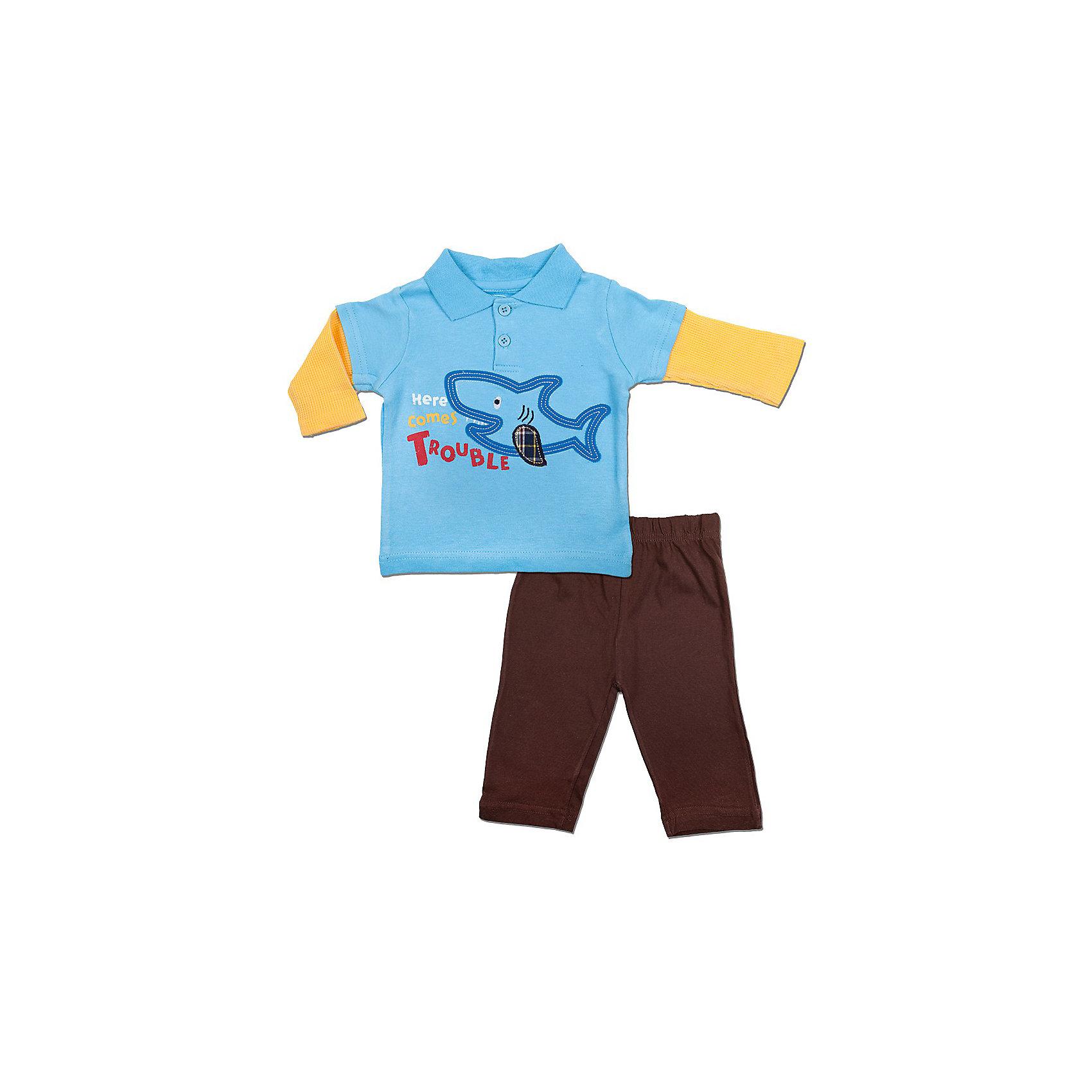 Комплект: футболка-поло и штанишки для мальчика Bon BebeКомплект из двух предметов для новорождённого от торговой марки Bon Bebe. Футболка-поло с длинным рукавом декорирована аппликацией и принтом спереди. Однотонные штанишки имеют свободный крой, фиксируются за счёт эластичной резинки, не сдавливая и не доставляя дискомфорта. Удобный и практичный комплект для новорождённого на каждый день!<br>Состав:<br>100% хлопок<br><br>Ширина мм: 157<br>Глубина мм: 13<br>Высота мм: 119<br>Вес г: 200<br>Цвет: голубовато коричневый<br>Возраст от месяцев: 0<br>Возраст до месяцев: 3<br>Пол: Мужской<br>Возраст: Детский<br>Размер: 45-61,61-66,66-76<br>SKU: 3401170
