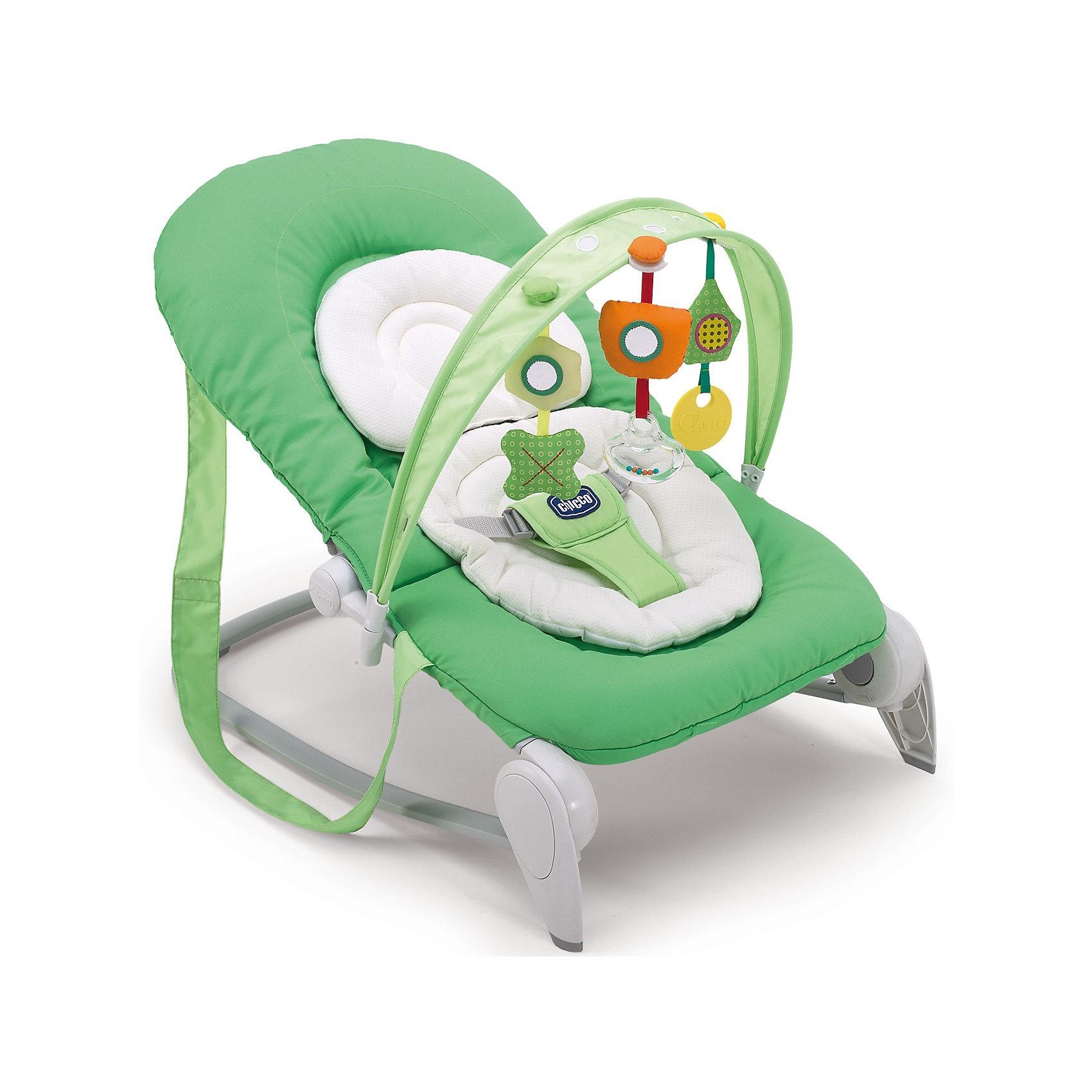 Шезлонг Hoopl? Greenland, ChiccoШезлонг Hoopl? Greenland, Chicco это легкое и удобное кресло-качалка для детей с рождения до 9 кг. (6 месяцев). Анатомическая конструкция кресла обеспечивает малышам правильное положение. Мягкое широкое сиденье со съемной моющейся подкладкой создает ребенку оптимальный комфорт. Спинка сиденья фиксируется с помощью боковых кнопок в четырех положениях, позволяя выбрать подходящее. Подголовник регулируется по высоте ребенка. Кресло можно легко зафиксировать в статичном положении, либо трансформировать его в кресло-качалку. Ребенок надежно удерживается в кресле при помощи мягкого трехточечного ремня безопасности. <br><br>Для развлечения малыша к шезлонгу можно прикрепить съемную подвеску с тремя забавными игрушками, которые будут способствовать двигательной активности, тактильному и сенсорному развитию. Благодаря системе Slide Line игрушки можно перемещать вдоль арки, что несомненно понравится малышу. Кресло-качалка легко складывается, не занимает много места при хранении. Чехол из ткани легко снимется и стирается при комнатной температуре. Максимальный вес ребенка - 9  кг.<br><br>Дополнительная информация:<br><br>- Цвет: зеленый.<br>- Материал: сталь, полипропилен, полиуретан, текстиль, нейлон.<br>- Возраст: 0-6 мес.<br>- Размер в разложенном виде: 78 х 43 х 62 см.<br>- Размер в сложенном виде: 78 х 43 х 32 см.<br>- Размер упаковки: 79 х 50 х 14 см.<br>- Вес с упаковкой: 9 кг.<br><br>Шезлонг Hoopl? Greenland, Chicco можно купить в нашем интернет-магазине.<br><br>Ширина мм: 795<br>Глубина мм: 500<br>Высота мм: 140<br>Вес г: 4437<br>Цвет: зеленый<br>Возраст от месяцев: 0<br>Возраст до месяцев: 6<br>Пол: Унисекс<br>Возраст: Детский<br>SKU: 3402416