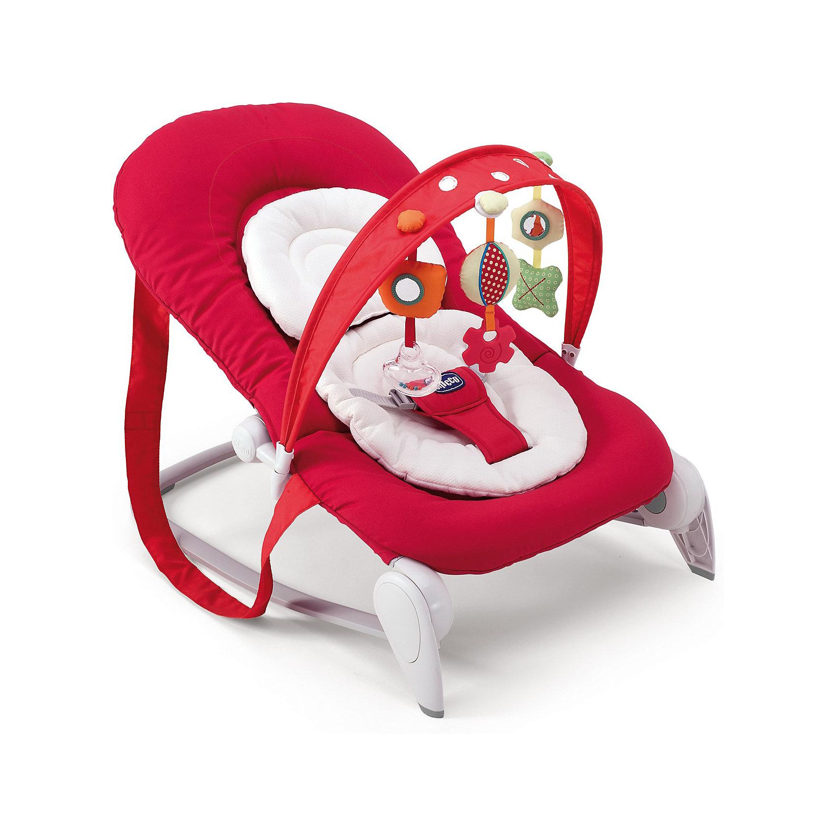 Шезлонг Hoopl? Red Wave, ChiccoШезлонг Hoopl? Red Wave, Chicco это легкое и удобное кресло-качалка для детей с рождения до 9 кг. (6 месяцев). Анатомическая конструкция кресла обеспечивает малышам правильное положение. Мягкое широкое сиденье со съемной моющейся подкладкой создает ребенку оптимальный комфорт. Спинка сиденья фиксируется с помощью боковых кнопок в четырех положениях, позволяя выбрать подходящее. Подголовник регулируется по высоте ребенка. Кресло можно легко зафиксировать в статичном положении, либо трансформировать его в кресло-качалку. Ребенок надежно удерживается в кресле при помощи мягкого трехточечного ремня безопасности. <br><br>Для развлечения малыша к шезлонгу можно прикрепить съемную подвеску с тремя забавными игрушками, которые будут способствовать двигательной активности, тактильному и сенсорному развитию. Благодаря системе Slide Line игрушки можно перемещать вдоль арки, что несомненно понравится малышу. Кресло-качалка легко складывается, не занимает много места при хранении. Чехол из ткани легко снимется и стирается при комнатной температуре. Максимальный вес ребенка - 9  кг.<br><br>Дополнительная информация:<br><br>- Цвет: красный.<br>- Материал: сталь, полипропилен, полиуретан, текстиль, нейлон.<br>- Возраст: 0-6 мес.<br>- Размер в разложенном виде: 78 х 43 х 62 см.<br>- Размер в сложенном виде: 78 х 43 х 32 см.<br>- Размер упаковки: 79 х 50 х 14 см.<br>- Вес с упаковкой: 9 кг.<br><br>Шезлонг Hoopl? Red Wave, Chicco можно купить в нашем интернет-магазине.<br><br>Ширина мм: 800<br>Глубина мм: 142<br>Высота мм: 552<br>Вес г: 4477<br>Цвет: красный<br>Возраст от месяцев: 0<br>Возраст до месяцев: 6<br>Пол: Унисекс<br>Возраст: Детский<br>SKU: 3402418