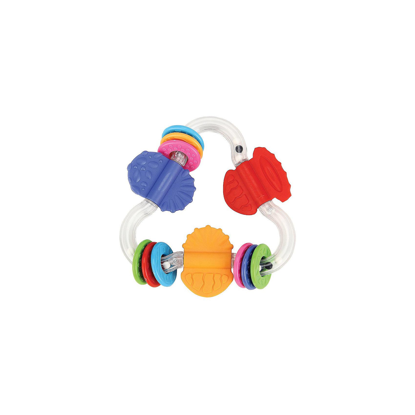 Зигзаг-прорезыватель POSITIVIKUS Happy BabyПрорезыватели<br>Зигзаг-прорезыватель POSITIVIKUS<br><br>Развивает: координацию движений; слуховое, тактильное и зрительное восприятие; познавательный интерес.<br><br>Характеристики: прозрачный корпус в виде зигзага с шариками, которые создают шумовой эффект; прорезыватели в виде колечек, которые передвигаются по зигзагу; резиновые ограничители служат прорезывателями.<br><br>Дополнительная информация:<br><br>Материал: АБС пластик, термопластичная резина.<br><br>Зигзаг-прорезыватель POSITIVIKUS Happy Baby можно купить в нашем интернет-магазине.<br><br>Ширина мм: 200<br>Глубина мм: 145<br>Высота мм: 40<br>Вес г: 91<br>Возраст от месяцев: 3<br>Возраст до месяцев: 24<br>Пол: Унисекс<br>Возраст: Детский<br>SKU: 3408927