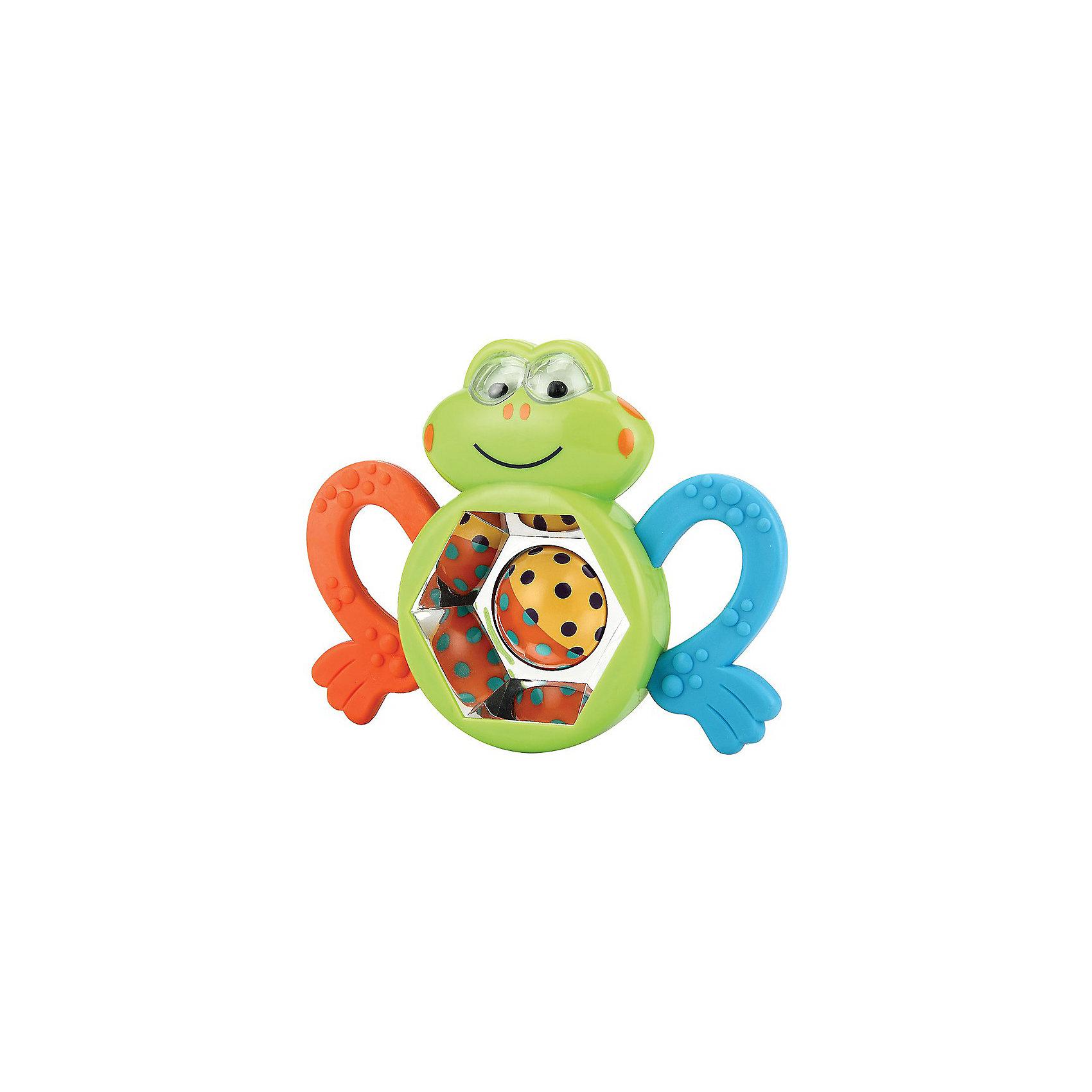 Погремушка-прорезыватель «Веселый лягушонок» FROGUS Happy BabyПрорезыватели<br>Погремушка-прорезыватель «Веселый лягушонок» FROGUS<br><br>Развивает: координацию движений; слуховое, тактильное и зрительное восприятие; познавательный интерес.<br><br>Характеристики: шарик в середине лягушонка крутится, внутри него шарики создают шумовой эффект; прорезыватели выполнены в виде лапок.<br><br>Дополнительная информация:<br><br>Материал: АБС-пластик, термопластичная резина.<br><br>Погремушка-прорезыватель «Веселый лягушонок» FROGUS Happy Baby можно купить в нашем интернет-магазине.<br><br>Ширина мм: 200<br>Глубина мм: 145<br>Высота мм: 30<br>Вес г: 100<br>Возраст от месяцев: 3<br>Возраст до месяцев: 24<br>Пол: Унисекс<br>Возраст: Детский<br>SKU: 3408928