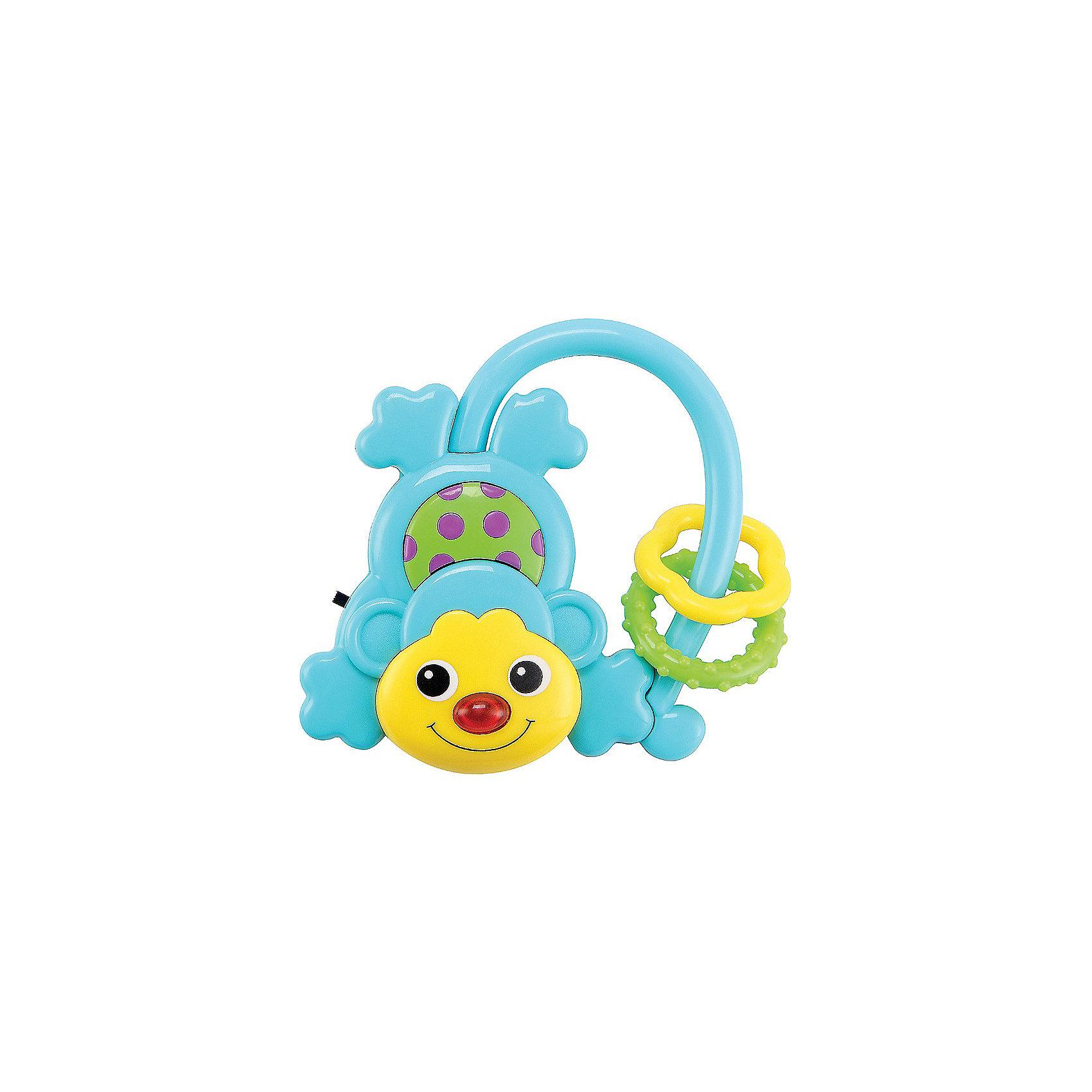 Музыкальная игрушка Обезьянка MONKUS Happy BabyИнтерактивные игрушки для малышей<br>Музыкальная обезьянка MONKUS<br><br>Развивает: координацию движений; слуховое, тактильное и зрительное восприятие; познавательный интерес; тактильные ощущения.<br><br>Характеристики: зеркальная поверхность на животике; звуковой эффект; при нажатии на кнопку загорается лампочка.<br><br>Дополнительная информация:<br><br>Материал: АБС-пластик, термопластичная резина.<br>Батарейки в комплекте.<br><br>Музыкальная игрушка Обезьянка MONKUS Happy Baby можно купить в нашем интернет-магазине.<br><br>Ширина мм: 180<br>Глубина мм: 125<br>Высота мм: 20<br>Вес г: 70<br>Возраст от месяцев: 3<br>Возраст до месяцев: 36<br>Пол: Унисекс<br>Возраст: Детский<br>SKU: 3408929