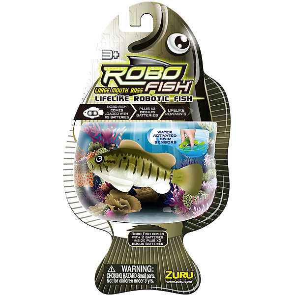Роборыбка Большеротый окунь, RoboFishРоборыбки<br>Робо-рыбка (Robofish) Большеротый окунь совсем как живая!<br><br>В воде игрушка имитирует движения и повадки настоящей рыбы и может двигаться в 5 направлениях. При движении роборыбка может опускаться ко дну и подниматься к поверхности воды.<br><br>Механизм движения рыбки активируется только в воде.<br> <br>Робо-рыбка понравится как детям так и взрослым. <br><br>Дополнительная информация:<br><br>- Материал: высококачественная пластмасса<br>- Батарейки:2 батарейки LR44, входят в комплект<br>- Длина рыбки: около 8 см<br><br>Игрушку Робо-рыбка (Робофиш) Большеротый окунь можно купить в нашем интернет-магазине.<br><br>Ширина мм: 410<br>Глубина мм: 260<br>Высота мм: 230<br>Вес г: 400<br>Возраст от месяцев: 60<br>Возраст до месяцев: 144<br>Пол: Унисекс<br>Возраст: Детский<br>SKU: 3410009