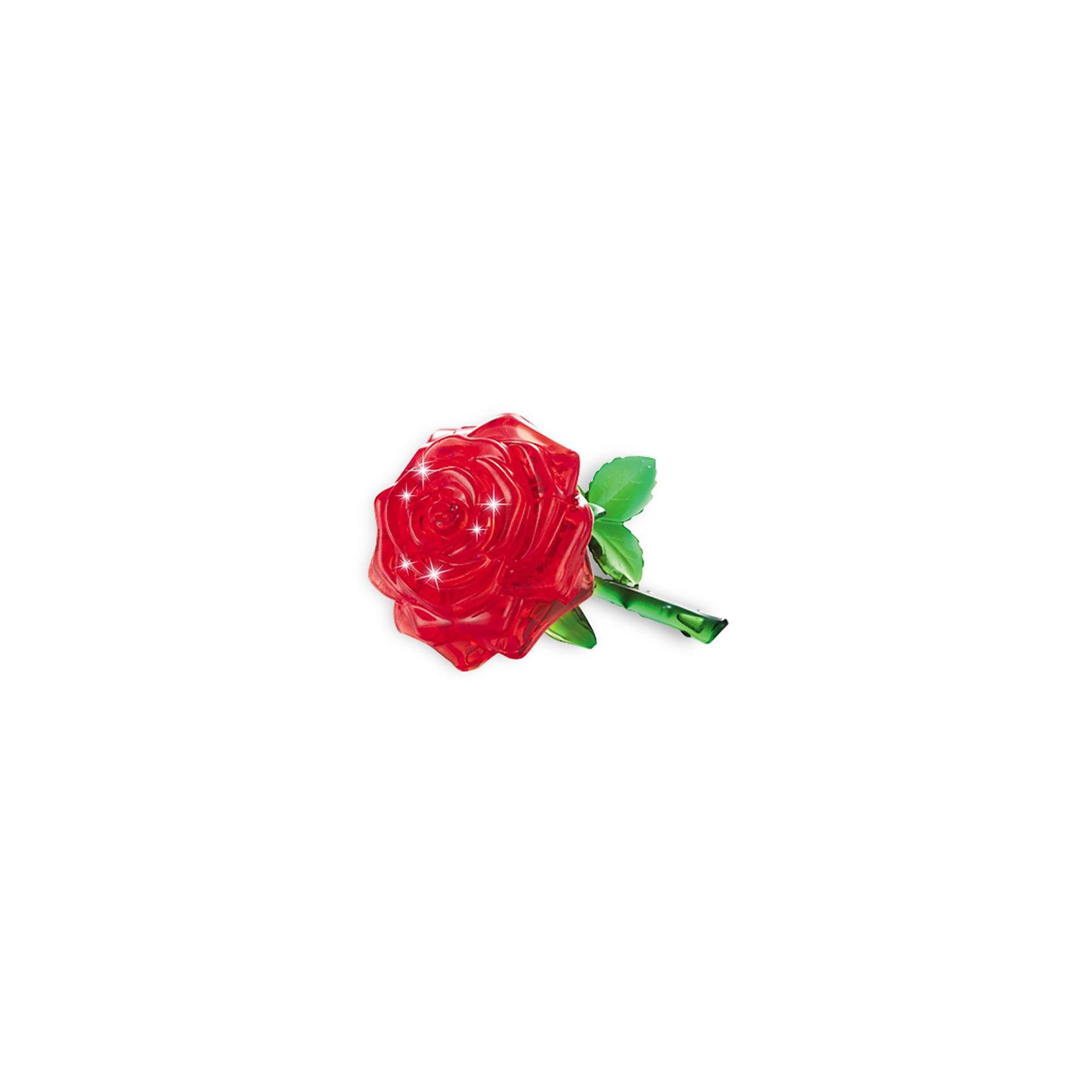 Кристаллический пазл 3D Роза L, CreativeStudio3D пазлы<br>Кристаллический пазл 3D Роза L, Creative Studio (Креатив Студио)- это головоломка  одна из самых сложных в серии Кристальные объемные пазлы, но и самая эффектная в собранном виде. Пурпурная прозрачная роза на зеленом стебле с листиками будет оригинальным украшением интерьера. Детали пазла выполнены из полупрозрачного пластика высокого качества. Они соединяются между собой без клея и образуют объемную фигуру, которую в дальнейшем можно использовать как украшение интерьера или в качестве сувенира. Для сборки модели надо разместить детали пазла в правильной последовательности. Когда фигура собрана, в нее нужно вставить фиксирующий элемент, который придаст ей прочности.<br>Процедура сборки может быть растянута от нескольких часов до нескольких дней, если не смотреть в инструкцию-подсказку (прилагается в наборе) и не обращать внимания на цифры с обратной стороны кусочков мозаики - это порядок сборки. Игра рассчитана на абсолютно разную возрастную аудиторию, поскольку требует усидчивости и терпения при подгонке деталей, плоских и сужающихся в местах стыковок. Все детали хорошо отполированы, блестят, без острых краев и трещин. Собранная своими руками игрушка будет для ребенка гораздо дороже, чем готовая ведь он вложил в нее свой драгоценный труд. Сборные модели и игрушки уникальны и отвечают потребностям самых разных возрастных групп, дарят людям радость творчества.<br><br>Дополнительная информация:<br><br>- Набор состоит из 44 или 21 детали и инструкции;<br>- Детали крепятся друг к другу без клея;<br>- Уровень сложности: 3;<br>- Обучающая, яркая и реалистичная модель;<br>- Идеально и легко собирается без инструментов;<br>- Увлекательный игровой процесс;<br>- Собранный 3D пазл можно использовать как обычную игрушку, как украшение комнаты или рабочего места;<br>- Материал: пластик;<br>- Размер упаковки: 4 х 14 х 9 см;<br>- Вес : 138 г  <br><br>ВНИМАНИЕ: Данный артикул представлен в разных вариантах исполнения: 44 или