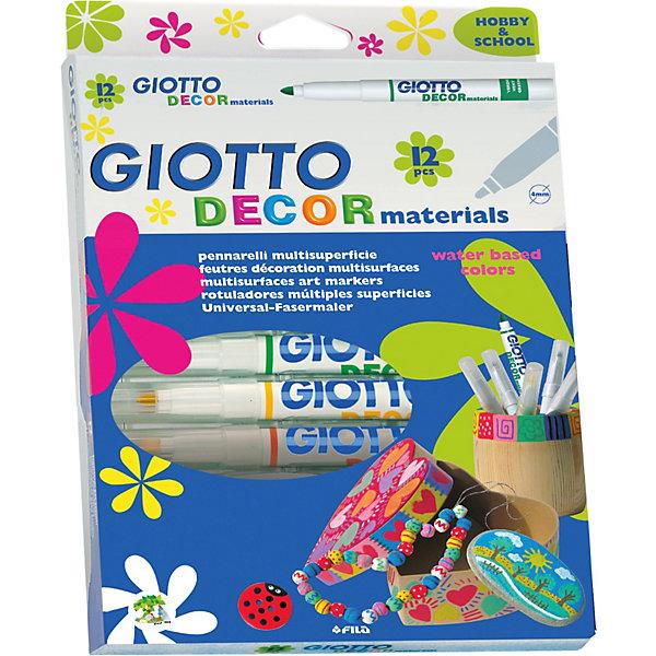 Фломастеры для декорирования, классические цвета, 12 шт.Фломастеры<br>Характеристики товара:<br><br>• в комплекте: 12 фломастеров (12 цветов);<br>• размер упаковки: 19х26х2 см;<br>• вес: 219 грамм;<br>• возраст: от 3 лет.<br><br>Фломастеры Giotto DECOR MATERIALS подходят для украшения и надписей на различных поверхностях: картон, бумага, пластик, стекло, металл, керамика и другие. Фломастеры пишут насыщенными цветами, создавая ровные линии. Чернила фломастеров изготовлены на водной основе, поэтому они не имеют запаха и не содержат токсичных веществ.<br><br>Giotto (Джотто) DECOR MATERIALS 12 цв. Фломастеры для декорирования можно купить в нашем интернет-магазине.<br>Ширина мм: 260; Глубина мм: 190; Высота мм: 25; Вес г: 218; Возраст от месяцев: -2147483648; Возраст до месяцев: 2147483647; Пол: Унисекс; Возраст: Детский; SKU: 3411236;