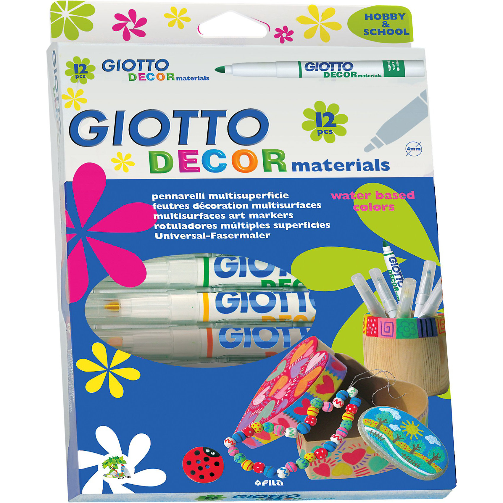 Фломастеры для декорирования, классические цвета, 12 шт.Письменные принадлежности<br>Фломастеры для декорирования, классические цвета, 12 шт.<br><br>Характеристики:<br><br>- в набор входит: 12 фломастеров<br>- состав: пластик, краска<br>- размер упаковки: 27 * 1,2 * 16 см.<br>- вес: 100 г.<br>- для детей в возрасте: от 6 до 14 лет<br>- страна производитель: Китай<br><br>Набор ярких фломастеров на водной основе от итальянского бренда канцелярских товаров для детей Giotto (Джиото) придет по вкусу как продвинутым художникам, так и начинающим. Серия декор вдохновляет своими картинками на упаковке на новые шедевры. Фломастеры не смываются и отлично ложатся на на бумагу, картон, дерево, камень, резину, пластик. При нанесении на гладкие поверхности, такие как стекло, зеркала, керамику могут смываться водой. Двенадцать стандартных цветов помогут выполнить любой шедевр! Кроме рисования, фломастеры отлично подойдут для графического оформления. Пластиковый корпус фломастеров с вентилируемым колпачком удобно ложится в руку. Рисуя фломастерами дети развивают творческие способности, аккуратность, моторику рук, усидчивость, восприятие цвета и выражают свой внутренний мир в рисунках.<br> <br>Фломастеры для декорирования, классические цвета, 12 шт. можно купить в нашем интернет-магазине.<br><br>Ширина мм: 260<br>Глубина мм: 190<br>Высота мм: 25<br>Вес г: 218<br>Возраст от месяцев: -2147483648<br>Возраст до месяцев: 2147483647<br>Пол: Унисекс<br>Возраст: Детский<br>SKU: 3411236