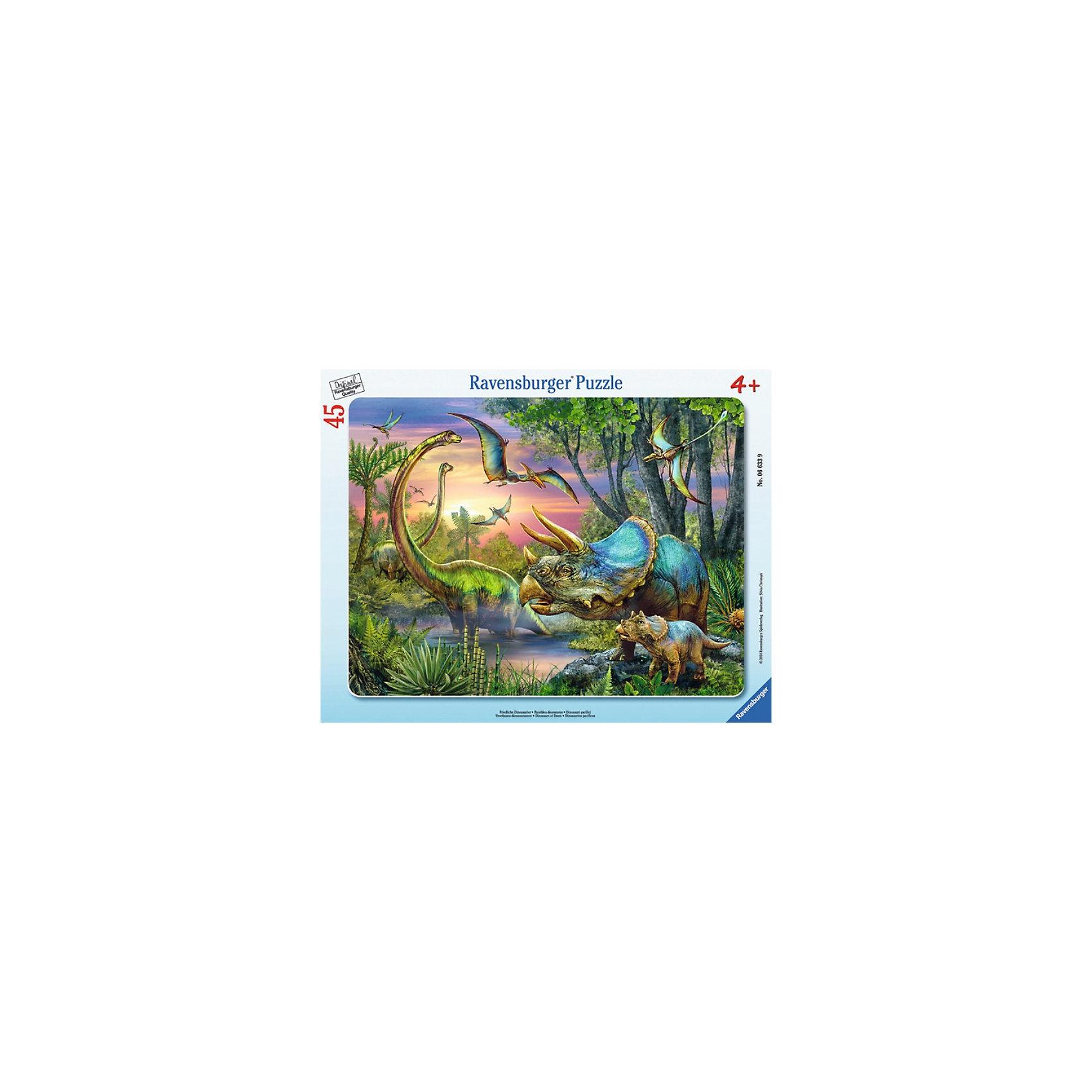 Пазл «Динозавры на рассвете», 45 деталей, RavensburgerПазл «Динозавры на рассвете», 45 деталей, Ravensburger (Равенсбургер) – это увлекательное и полезное времяпрепровождение для Вашего ребенка!<br>Пазл Динозавры на рассвете от немецкой фирмы Ravensburger (Равенсбургер) - это уникальный занимательный и развивающий пазл с красочным изображением различных динозавров. Собирая картинку, ребенок развивает логическое мышление, воображение, мелкую моторику и умение принимать самостоятельные решения. Пазлы Ravensburger неповторимы и уникальны тем, что для их изготовления используется картон наивысшего класса, благодаря которому сложенные головоломки не сгибаются, сам картон не отделяется от картинки, а сложенная картинка представляется абсолютно плоской и не деформируется даже спустя время. Прочные детали не ломаются. Каждая деталь имеет свою форму и подходит только на своё место. Матовая поверхность исключает неприятные отблески. Изготовлено из экологического сырья.<br><br>Дополнительная информация:<br><br>- Количество деталей: 45<br>- Размер картинки: 29 x 37 см.<br>- Материал: прочный картон<br>- Размер коробки: 38 x 5 х 30 см.<br><br>Пазл «Динозавры на рассвете», 45 деталей, Ravensburger (Равенсбургер) можно купить в нашем интернет-магазине.<br><br>Ширина мм: 377<br>Глубина мм: 294<br>Высота мм: 10<br>Вес г: 309<br>Возраст от месяцев: 48<br>Возраст до месяцев: 72<br>Пол: Мужской<br>Возраст: Детский<br>Количество деталей: 45<br>SKU: 3412896