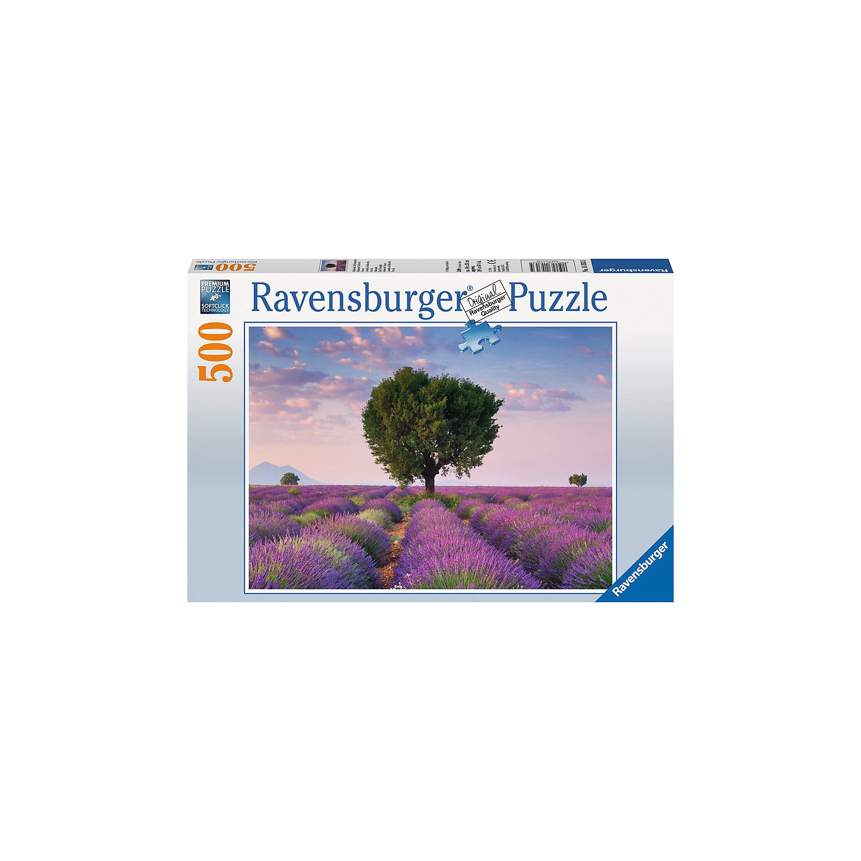 Пазл «Лавандовое поле», 500 деталей, RavensburgerКлассические пазлы<br>Цветущая с июня по август лаванда придает удивительные краски природным ландшафтам Прованса - от дымчато-лиловых до иссиня-фиолетовых, в зависимости от погодных условий и поры цветения. С пазлом Лавандовое поле от Ravensburger (Равенсбургер) Вы можете привнести умиротворяющую частичку цветущих полей в своей дом! Пазл настолько яркий и реалистичный, что собирая его, Вы можете почувствовать нежный аромат лаванды. Вас порадует, что плотный картон, из которого состоит пазл не мнется во время сборки, яркая картинка защищена от расслаивания, благодаря чему такой пазл способен служить долгое время. Украсьте свой интерьер чудным пейзажем, просто вставив законченный пазл в рамку. Пазл «Лавандовое поле» от Ravensburger (Равенсбургер) - это полезное и увлекательное занятие для всей семьи!<br> <br>Дополнительная информация:<br><br>- Развивает моторику и внимание;<br>- Прекрасный подарок;<br>- Матовая поверхность исключает отблески;<br>- Очень качественные элементы не расслаиваются;<br>- Материал: картон;<br>- Размер готовой картинки: 49 х 36 см;<br>- Размер упаковки: 34 х 23 х 4 см;<br>- Вес: 540 г<br><br>Пазл «Лавандовое поле» 500 деталей, Ravensburger (Равенсбургер) можно купить в нашем интернет-магазине.<br><br>Ширина мм: 338<br>Глубина мм: 233<br>Высота мм: 39<br>Вес г: 512<br>Возраст от месяцев: 144<br>Возраст до месяцев: 228<br>Пол: Унисекс<br>Возраст: Детский<br>Количество деталей: 500<br>SKU: 3412929