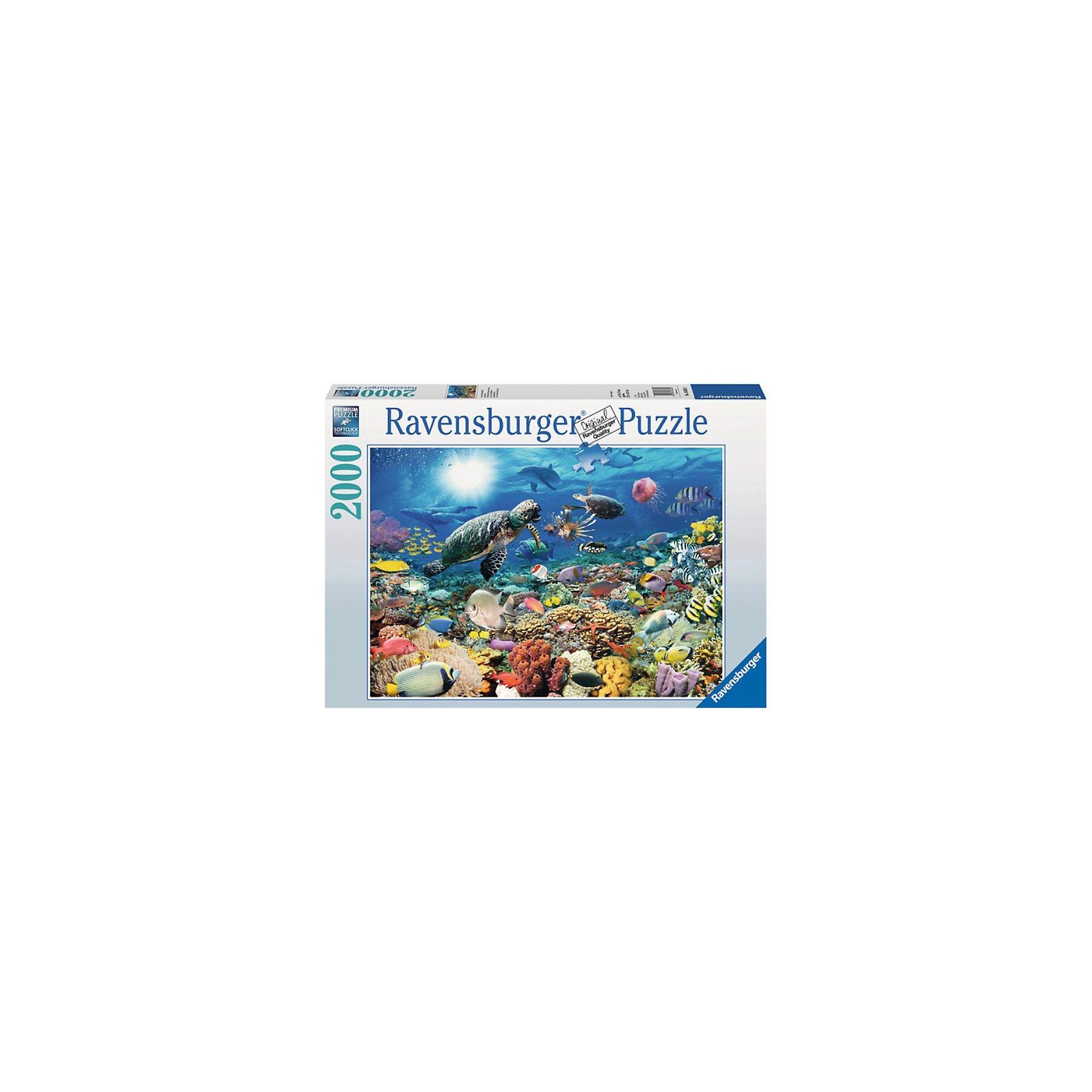 Пазл «Подводный мир» 2000 деталей, RavensburgerКлассические пазлы<br>Большой красивый Пазл «Подводный мир» 2000 деталей, Ravensburger (Равенсбургер) богат самыми насыщенными цветами и позволит окунуться в прекрасный мир морских глубин.  Исходное изображение содержит множество разноцветных элементов с изображением подводных обитателей морей (черепах, рыб, кораллов, медуз, водорослей). Великолепная игра для семейного досуга, захватывающая и взрослых и детей!<br><br>Характеристики:<br>-Элементы идеально соединяются друг с другом, не отслаиваются с течением времени<br>-Высочайшее качество картона и полиграфии <br>-Матовая поверхность исключает отблески<br>-Развивает: память, мышление, внимательность, усидчивость, мелкая моторика<br>-Каждая деталь пазла отличается по форме, что упростит сборку <br>-Полезное и занимательное времяпрепровождение для всей семьи<br>-Для сохранения в собранном виде можно использовать скотч или специальный клей для пазлов (в комплект не входит)<br><br>Дополнительная информация:<br>-Материал: плотный картон, бумага<br>-Размер готовой картинки: 98х75 см<br>-Размер упаковки: 43х30х5 см<br>-Вес упаковки: 1,5 кг<br><br>Чтобы собрать картину «Подводный мир», понадобится несколько вечеров, но увлекательное занятие без сомнений понравится как детям, так и взрослым ценителям этого хобби!<br><br>Пазл «Подводный мир» 2000 деталей, Ravensburger (Равенсбургер) можно купить в нашем магазине.<br><br>Ширина мм: 433<br>Глубина мм: 301<br>Высота мм: 55<br>Вес г: 1481<br>Возраст от месяцев: 144<br>Возраст до месяцев: 228<br>Пол: Унисекс<br>Возраст: Детский<br>Количество деталей: 2000<br>SKU: 3412958