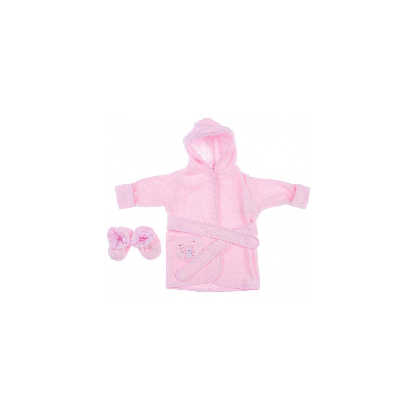 Комплект для девочки: банный халатик и пинетки Зайка Spasilk