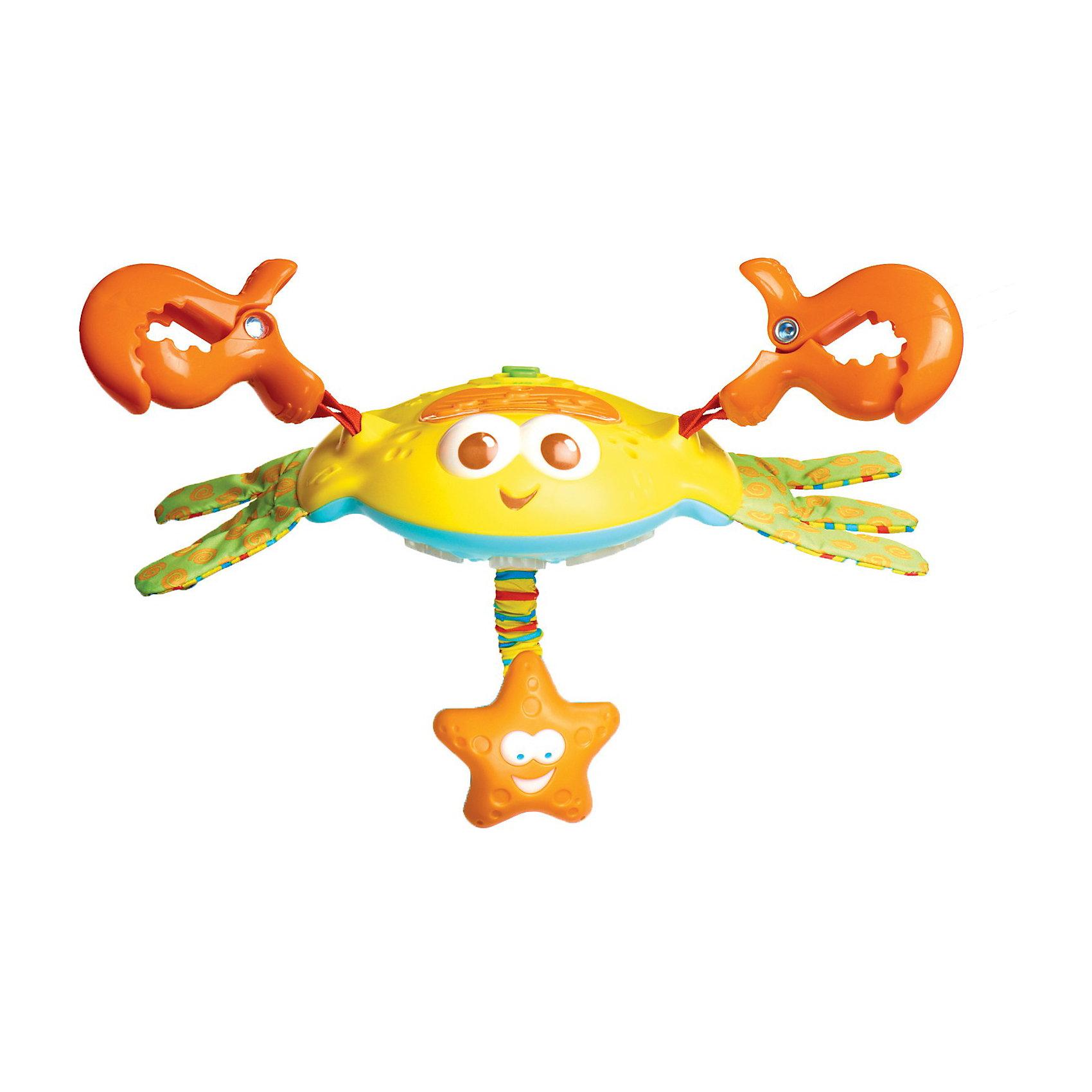 Электронная подвесная игрушка Краб Себастиан, Tiny LoveЭлектронная подвесная игрушка Краб Себастиан, Tiny Love (Тини Лав)<br><br> Забавная электронная игрушка с 2 клешнями–прищепками, с помощью которых она крепится к дугам ковриков, прогулочным коляскам, кроваткам и автокреслам. Две клешни-карабина обеспечивают безопасное и надежное крепление ко всем современным типам детского оборудования.  Забавная подвеска-краб  Себастиан со звуковыми и световыми эффектами станет прекрасным другом для вашего малыша.  Тело краба выполнено из пластика и представляет собой интерактивный музыкальный центр с мигающими цветными огоньками и встроенным динамиком.<br>  <br>На голове расположены регулировки громкости и рычажок переключения режимов. К брюшку краба прикреплена подвесная игрушка в виде морской звезды выполняющая одновременно функции безопасного прорезывателя. Игрушка оснащена электронным блоком, способным воспроизводить 5 различных мелодий общей продолжительностью около 15 минут.  Доступны независимые и совместные режимы использования света и музыки. Также игрушка снабжена регулятором громкости (в том числе доступен беззвучный режим).  <br><br>Дополнительно:<br>Для работы необходимы: батарейки 3 шт. ААА (в комплект не входят)<br>Размеры игрушки: 28 (с клешнями) х15 см.<br><br>Электронную подвесную  игрушку Краб Себастиан, Tiny Love (Тини Лав) можно купить в нашем интернет – магазине.<br><br>Ширина мм: 85<br>Глубина мм: 280<br>Высота мм: 280<br>Вес г: 600<br>Возраст от месяцев: 0<br>Возраст до месяцев: 24<br>Пол: Унисекс<br>Возраст: Детский<br>SKU: 3421201