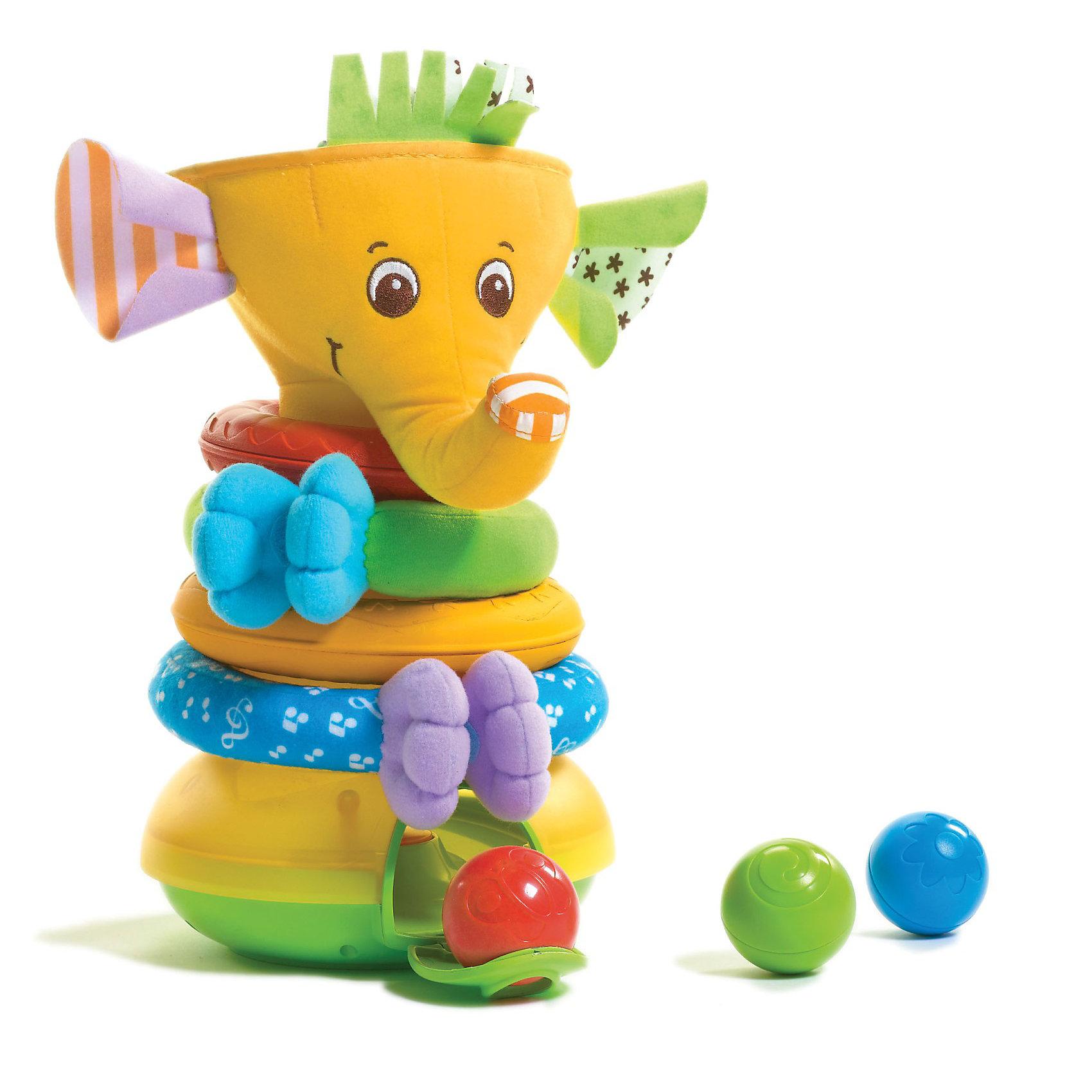 Музыкальная пирамидка с шариками Слоник (новый дизайн), Tiny LoveМузыкальная пирамидка с шариками Слоник, Tiny Love<br><br>Увлекательная игра для малышей. Игрушка «Слоник» с музыкой, различными звуковыми и световыми эффектами. <br><br> В наборе:<br>-  пластиковое интерактивное основание с отверстием для шаров, <br>- 3 шарика с рисунком, <br>- 4 кольца с приятной текстурой, <br>- голова слоника.<br>- 4 различных мелодии и звуки: детский смех, овации, хлопки<br> <br>Малыш собирает, разбирает пирамидку, кидает шарики в воронку - голову слоника, шарик ударяется об основание пирамиды и звучит веселая мелодия. <br> На пластмассовый конус-основу пирамидки малыш может надевать  4 мягких кольца, отличающиеся по диаметру, цвету и фактуре ткани. 2 кольца сплошные, а 2 других можно разомкнуть за счет липучки, - это ручки и ножки слона. Затем малыш надевает голову слона и пирамидка собрана. Получился очень милый слоник с мохнатым чубчиком и разноцветными шуршащими ушами.<br><br>Музыкальная пирамидка развивает мелкую моторику, развивает мышление, воображение, дарит положительные эмоции. <br><br>Дополнительно:<br>Для работы нужны батарейки: 1,5 V (AA)LR6 х 3шт. <br>Материал: высококачественный пластик<br><br>Музыкальная пирамидка с шариками Слоник, Tiny Love можно купить в нашем интернет- магазине.<br><br>Ширина мм: 260<br>Глубина мм: 300<br>Высота мм: 180<br>Вес г: 1000<br>Возраст от месяцев: 6<br>Возраст до месяцев: 36<br>Пол: Унисекс<br>Возраст: Детский<br>SKU: 3421202