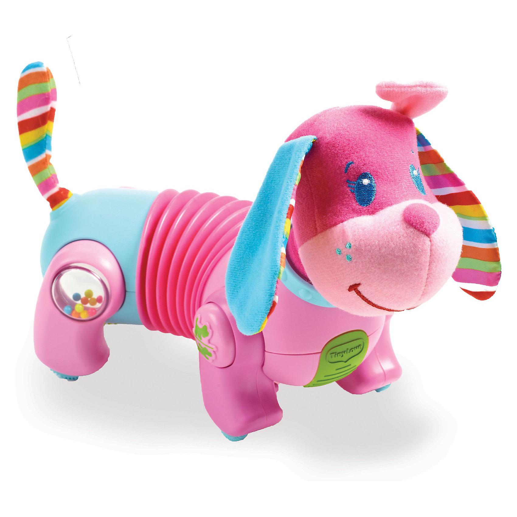 Игрушка-собачка Фиона Догони меня (новый дизайн), Tiny LoveИнтерактивные игрушки для малышей<br>Игрушка-собачка Фиона Догони меня (новый дизайн), Tiny Love (Тини Лав)<br><br> Малыши в возрасте от 6 месяцев с восторгом будут ползать вслед за маленькой собачкой Фионой «Догони меня». Интерактивный щенок ФИОНА «Иди за мной!» побуждает малыша ползать и ходить. Теперь в новом дизайне с забавной мордочкой, выполненной в стиле АНИМЕ.<br><br> Фиона станет верной спутницей тех малышей, которые уже начали ползать и исследовать окружающий мир, и тех, кому это дается пока с трудом, потому что скорость Фионы регулируется.  Розовая собачка Фиона «Догони меня»  особенно привлечет маленьких девочек. Стоит малышу прикоснуться к собачке - как она начнет двигаться, приглашая ребенка следовать за ней. Лаем Фиона не даст малышу о себе забыть, чтобы он продолжал ползать за ней и с ней играть. Благодаря подвижной средней части туловища собачке можно задавать различные направления движения вправо и влево. Эта особенность привлечёт к собачке внимание малышей самого разного возраста. Фиона может, например, бегать по кругу, чтобы показать малышу, который учится ползать, как передвигаться.<br> А для тех деток, которые уже хорошо ползают, можно настроить собачку на прямолинейное движение, чтобы они могли следовать за своей спутницей по всей комнате.<br>Во все лапки собачки встроены различные интерактивные функции, например, маленькое зеркальце, звуковые эффекты и прочее.  <br><br>Собачка развивает мелкую и крупную моторику, органы чувств, мировосприятие и эмоциональную сферу ребенка.<br><br>Дополнительно:<br>- Кнопка с изображением лапы позволяет регулировать скорость движения игрушки. <br>- Для работы нужны батарейки АААх3 (в комплект не входят).<br>- Размер игрушки: 20х25х12 см.<br>- Упаковка товара - Открытая подарочная коробка.<br>- Регулятор громкости (доступен беззвучный режим).<br><br>Игрушку-собачку Фиона Догони меня, Tiny Love (Тини Лав) можно купить в нашем интернет - магазине.<br><br>