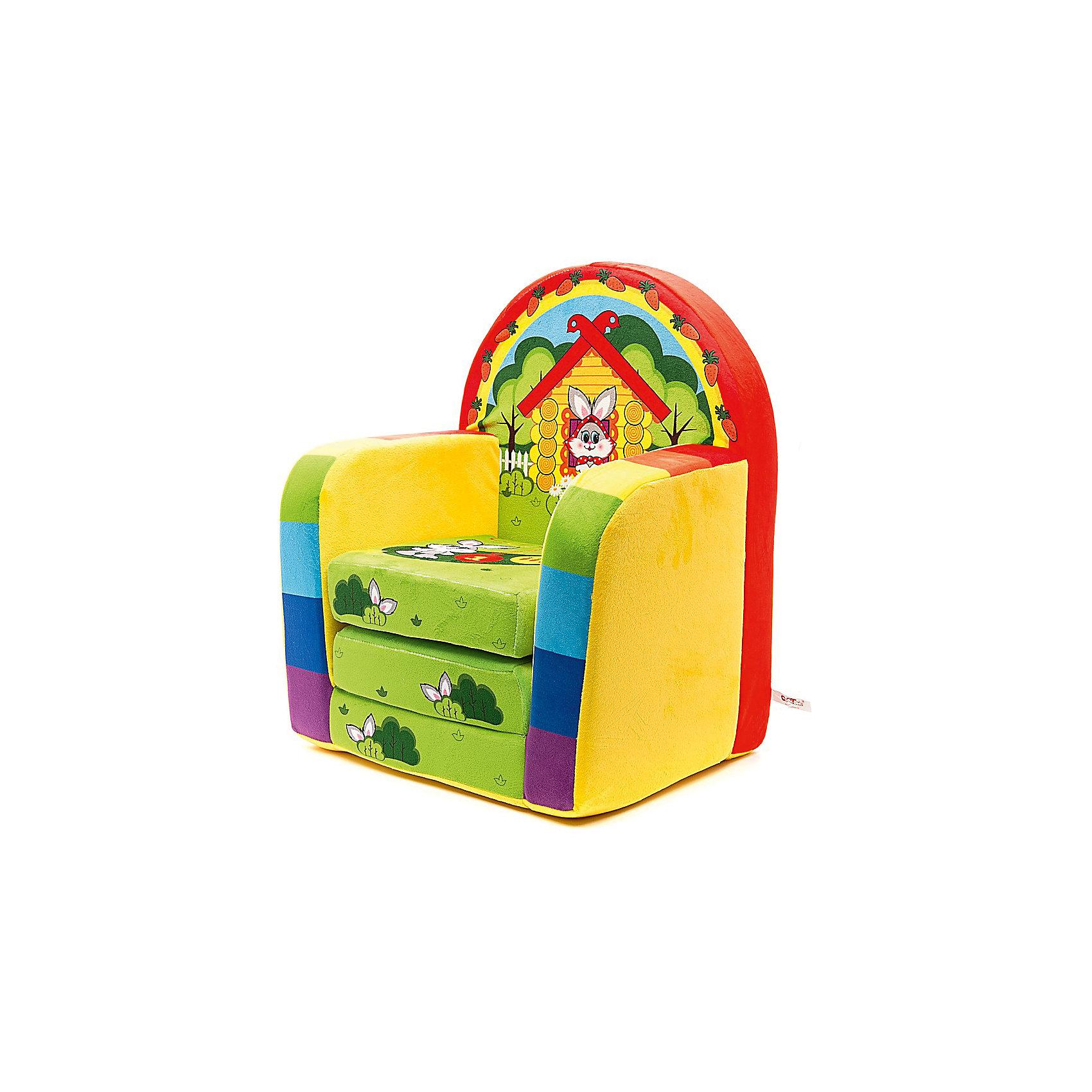 Развивающее кресло ЗайчонокМебель<br>Развивающее кресло Зайчонок для малышей. В таком кресле дети будут чувствовать себя уютно. Кресло выполнено в виде мягкой игрушки и абсолютно безопасно для детей!  Мягкое кресло прекрасно украсит как интерьер детской комнаты так и детского садика и поможет разнообразить игры с малышом: кубик в комплекте.<br><br>Дополнительная информация:<br><br>- материал:  обивка - искусственный мех, наполнитель - поролон.<br>- размеры (в/ш/д): 55/38/36 см.<br>- цвет: зеленый<br> <br>Развивающее кресло Зайчонок можно купить в нашем интернет-магазине<br><br>Ширина мм: 530<br>Глубина мм: 360<br>Высота мм: 420<br>Вес г: 1140<br>Возраст от месяцев: 24<br>Возраст до месяцев: 60<br>Пол: Унисекс<br>Возраст: Детский<br>SKU: 3440328