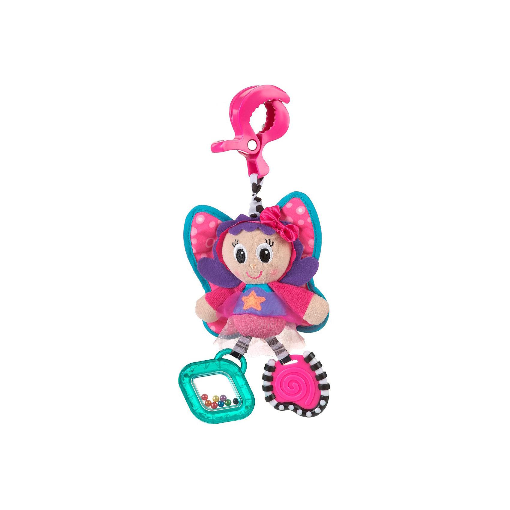 Игрушка-подвеска Бабочка, PlaygroИгрушка-подвеска Бабочка, Playgro (Плейгро) подарит малышу новые впечатления и радостную улыбку.<br>Игрушку-подвеску Бабочка отличает яркий дизайн и многофункциональность. Она обязательно понравится Вашему малышу и будет сопровождать его на прогулке или в дальней поездке. Игрушка крепится при помощи зажима, ее можно подвесить в коляску, кроватку, на дуги развивающего коврика или автокресло. На одной лапке бабочки – прозрачная погремушка с разноцветными шариками, на другой - прорезыватель с рифленой поверхностью, который поможет успокоить болезненные ощущения в деснах при появлении новых зубов. Мелкие, но яркие шарики побуждают малыша фокусировать зрение на мелких объектах, а звук погремушки учит малыша находить объекты в пространстве. Благодаря разным на ощупь тканям, у малыша развивается тактильное восприятие и мелкая моторика рук, ребенок учится хватать и удерживать игрушку в руках. Игрушка-подвеска Бабочка изготовлена из экологически чистых материалов, не вызывает аллергии и безвредна для здоровья ребенка. <br><br>Дополнительная информация:<br><br>- Материалы: плюшевый текстиль, атласная ткань, органза, гипоаллергенный полиэстер и прочный пластик<br>- Держатель: пластиковый карабин<br>- Прикрепите игрушку к рейке и потяните ее к себе - бабочка завибрирует<br>- Размер: 29 x 14 x 7 см<br><br>Игрушку-подвеску Бабочка, Playgro (Плейгро) можно купить в нашем интернет-магазине.<br><br>Ширина мм: 176<br>Глубина мм: 177<br>Высота мм: 81<br>Вес г: 91<br>Возраст от месяцев: 0<br>Возраст до месяцев: 12<br>Пол: Унисекс<br>Возраст: Детский<br>SKU: 3455201