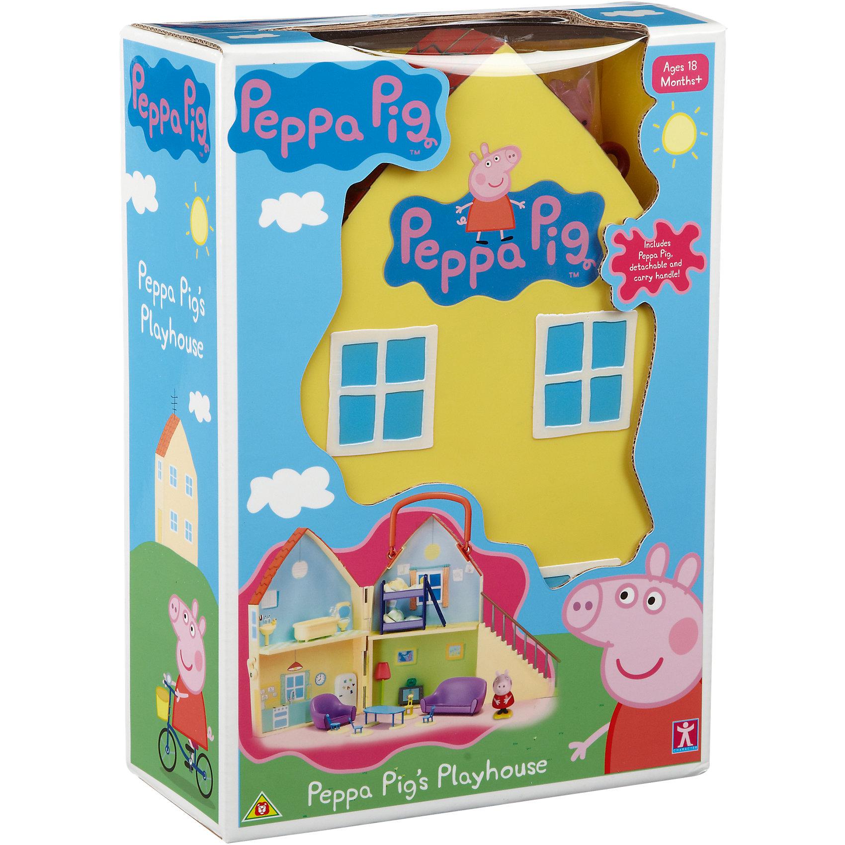 Игровой набор Дом Пеппы, Свинка ПеппаИгрушечные домики и замки<br>Игровой  набор Дом Пеппы, Свинка Пеппа<br><br>Коллекция игрушек Peppa Pig создана на основе мультипликационного фильма про веселые приключения Свинки  Пеппы и ее семьи и друзей.<br><br>В наборе: <br>- фигурка Пеппы, <br>- домик,<br>- 4 стула, <br>- овальный стол,<br>- ванна и кровать,<br>- телевизор, кресло, диван.<br><br> Упаковка - коробка.<br><br>Игровой  набор Дом Пеппы, Свинка Пеппа можно купить в нашем интернет - магазине.<br><br>Ширина мм: 323<br>Глубина мм: 225<br>Высота мм: 106<br>Вес г: 947<br>Возраст от месяцев: 36<br>Возраст до месяцев: 60<br>Пол: Женский<br>Возраст: Детский<br>SKU: 3458421