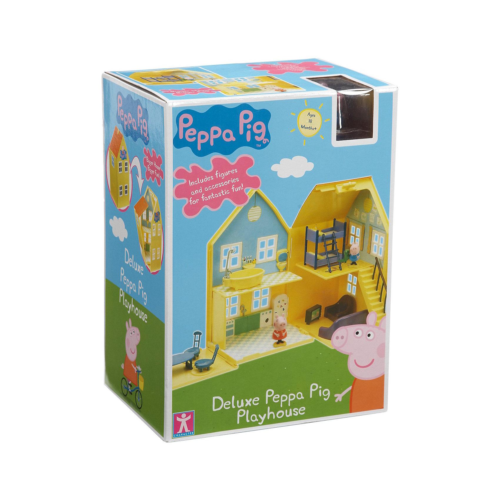 Игровой набор Домик Пеппы, Свинка ПеппаИгровой набор Домик Пеппы, Свинка Пеппа<br><br>Коллекция игрушек Peppa Pig создана на основе мультипликационного фильма про веселые приключения Свинки  Пеппы и ее семьи и друзей. <br><br>Дополнительная информация:<br><br>Размер домика в сложенном виде: 18,5 х 14,5 х 31,5 см.<br>Размер домика в развернутом виде: 72,5 х 14,5 х 31,5 см.<br>Размеры упаковки: 18 х 24 х 33,5 см.<br>В наборе: домик раскладывающийся, мебель (кровать, диван, кресло, телевизор, стол, стулья), фигурка Пеппы и Джорджа.<br>Упаковка - коробка с окном.<br><br>Игровой набор Домик Пеппы, Свинка Пеппа можно купить в нашем интернет - магазине.<br><br>Ширина мм: 335<br>Глубина мм: 240<br>Высота мм: 180<br>Вес г: 1270<br>Возраст от месяцев: 36<br>Возраст до месяцев: 72<br>Пол: Женский<br>Возраст: Детский<br>SKU: 3458423
