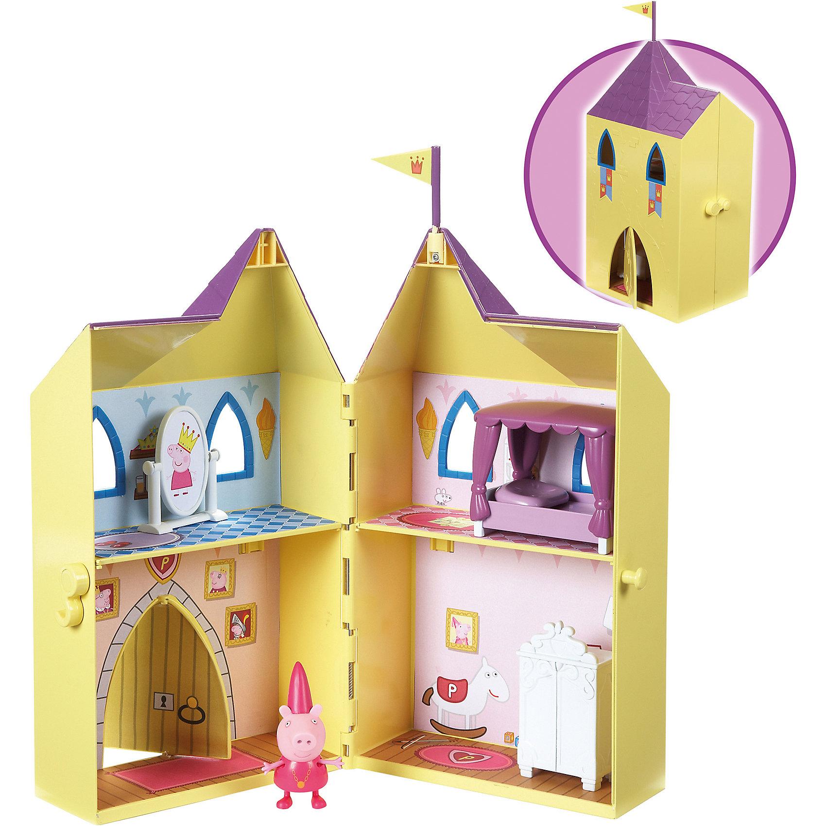 Игровой набор Замок принцессы, Свинка ПеппаИгрушки<br>Игровой набор Замок принцессы, Свинка Пеппа<br><br>Коллекция игрушек Peppa Pig создана на основе мультипликационного фильма про веселые приключения Свинки  Пеппы и ее семьи и друзей. <br><br>В наборе: секретная башня принцессы Пеппы раскрывающийся, мебель (шкаф, зеркало, кровать) и фигурка Пеппы. <br>Упаковка - коробка с окном.<br><br>Игровой набор Замок принцессы, Свинка Пеппа можно купить в нашем интернет - магазине.<br><br>Ширина мм: 320<br>Глубина мм: 202<br>Высота мм: 140<br>Вес г: 750<br>Возраст от месяцев: 36<br>Возраст до месяцев: 72<br>Пол: Женский<br>Возраст: Детский<br>SKU: 3458425