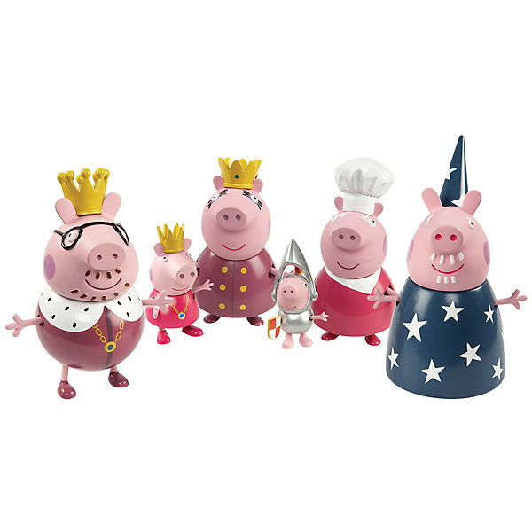 Игровой набор Королевская семья, Свинка ПеппаИгровые наборы с фигурками<br>Вся семейка Свинки Пеппы (Peppa Pig) в сборе в великолепных королевских нарядах! Коллекция игрушек Peppa Pig создана на основе мультипликационного фильма про веселые приключения Свинки  Пеппы и ее семьи и друзей. <br><br>Дополнительная информация:<br><br>В игровом наборе «Королевская семья» «Свинка Пеппа» 6 фигурок, которые могут стоять, сидеть, двигать ручками и ножками: Пеппа – 6 см, Джордж – 5 см, папа – 11,5 см, мама – 9 см, дедушка – 11 см (двигаются только руки), бабушка – 10 см.<br>Фигурки изготовлены из полимерных материалов (пластик). <br>Головы у фигурок из ПВХ (пластизоль ~ 90% жесткости).  <br><br><br>Игровой набор Королевская семья, Свинка Пеппа можно купить в нашем интернет - магазине.<br><br>Ширина мм: 265<br>Глубина мм: 340<br>Высота мм: 280<br>Вес г: 410<br>Возраст от месяцев: 36<br>Возраст до месяцев: 72<br>Пол: Унисекс<br>Возраст: Детский<br>SKU: 3458426
