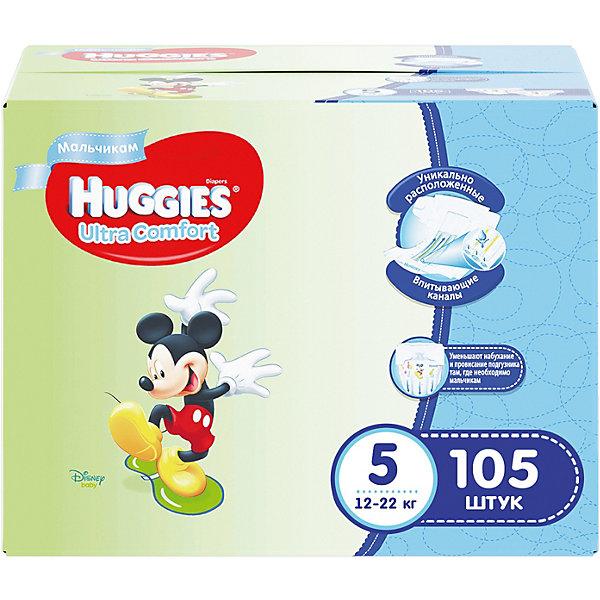 Подгузники Huggies Ultra Comfort 5 Disney Box  для мальчиков, 12-22 кг, 105 шт. (35х3)Подгузники классические<br>С первых дней жизни мальчики и девочки такие разные.<br><br>Новые подгузники Huggies Ultra Comfort созданы специально для мальчиков и специально для девочек. Для лучшего впитывания распределяющий слой в этих подгузниках расположен там, где это нужнее всего: по центру для девочек и выше для мальчиков. Huggies Ultra Comfort изготовлены из мягких материалов с микропорами, которые позволяют коже «дышать». Специальные тянущиеся застежки с закругленными краями надежно фиксируют подгузник, а широкий суперэластичный поясок позволяет малышам свободно двигаться.<br><br>Ключевые преимущества новых Huggies Ultra Comfort:<br><br>- Широкий суперэластичный поясок помогает надежно фиксировать подгузник по спинке малыша и защищать кожу от натирания<br>- Анатомическая форма. Изогнутые резиночки повторяют анатомическую форму подгузника, помогая защитить от натирания между ножками <br>- Ультра мягкий внутренний слой по всей длине подгузника оберегает кожу малыша.<br>- Специально разработанный слой Dry Touch впитывает за секунды и помогает запереть влагу внутри.<br>- Яркие эксклюзивные подгузники c дизайном от Disney подчеркивают индивидуальность маленьких модников и модниц.<br><br>Huggies Ultra Comfort для мальчиков и для девочек — потому что они такие разные.<br><br>Дополнительная информация:<br><br>Для мальчиков.<br>Размер: 5, 12-22 кг.<br>В упаковке: 105 шт. (35х3).<br><br>Подгузники Huggies Ultra Comfort для мальчиков Disney Box (5) 12-22 кг, 105 шт. (35х3) можно купить в нашем интернет-магазине.<br><br>Ширина мм: 374<br>Глубина мм: 258<br>Высота мм: 321<br>Вес г: 4410<br>Возраст от месяцев: 12<br>Возраст до месяцев: 72<br>Пол: Мужской<br>Возраст: Детский<br>SKU: 3472252