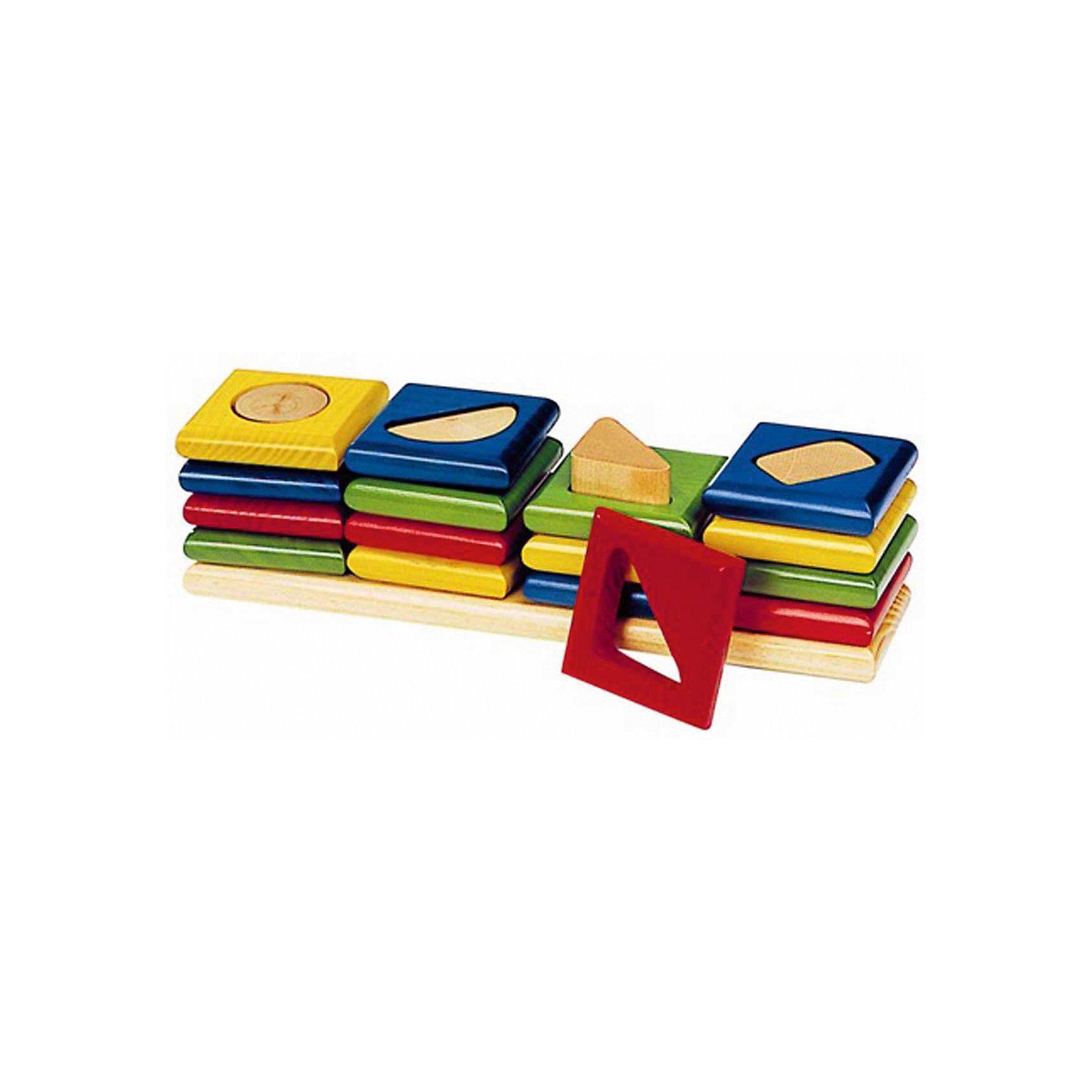 Сортировщик-пирамидка Геометрия 4 фигуры, gokiЭта деревянная игрушка объединяет в себе пирамидку, сортировщик и головоломку для малышей. Ведь для того, чтобы правильно собрать ее целиком, нужно хорошенько подумать!<br><br>16 рамок объединены в группы по 4 штуки, которые объединяет отверстие одинаковой формы (ромб, треугольник, круг, полукруг). Кроме сборки по форме отверстий, возможно выстраивание различных цветовых комбинаций.<br><br>Дополнительная информация:<br><br>- Игра знакомит с понятиями формы и цвета.<br>- Размер: 24,5х6 см<br>- Сделано в Германии<br><br>Ширина мм: 240<br>Глубина мм: 60<br>Высота мм: 60<br>Вес г: 800<br>Возраст от месяцев: 12<br>Возраст до месяцев: 36<br>Пол: Унисекс<br>Возраст: Детский<br>SKU: 3476769