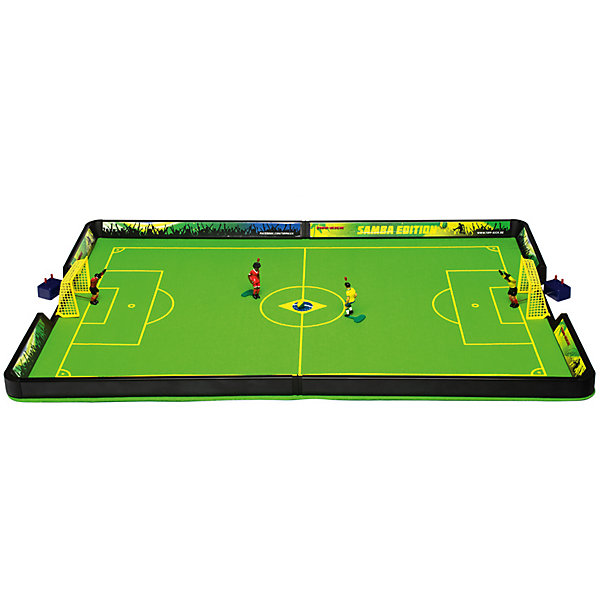 Футбол настольный Самба 71 х 44см, TIPP-KICKСпортивные настольные игры<br>Футбол настольный Самба 71 х 44см, TIPP-KICK - игра станет отличным подарком не только ребенку, но и взрослому, любящему спортивные игры.<br>Футбол настольный TIPP-KICK Самба выполнен в виде футбольного поля с Бразильской символикой и рекламными бордюрами. На футбольном войлочном поле зеленого цвета легко устанавливаются пластиковые ворота с натянутой сеткой. Ловкий вратарь оснащенный специальным механизмом, позволяющим фигурке двигаться из положения стоя в положение лежа, вправо, влево, отразит любую атаку противника на ворота, которую смогут организовать игроки в Ваших ловких руках. Вратари и игроки раскрашены в цвет своей команды. Перед началом игры каждый участник выбирает себе один из двух цветов, в которые окрашен мяч. В течение матча по этим цветам будет определяться, кто должен наносить удар по мячу. Например, если мяч лежит белой стороной вверх – бьет игрок, выбравший белый цвет; если мяч лежит черной стороной вверх – бьет игрок, выбравший черный цвет. В перерыве матча игроки меняются сторонами поля и цветами мяча. Удары по мячу наносят, нажимая на кнопку на голове полевого игрока. Победителем объявляется игрок, забивший больше голов, чем соперник. Игра развивает ловкость, быстроту реакции, стремление к победе и соревновательные навыки.<br><br>Дополнительная информация:<br><br>- В наборе: футбольное поле (разметка 71х44 см); 2 ворот; 2 вратаря на специальных механизмах, 2 игрока с встроенным механизмом; 2 двухцветных ребристых мяча; правила игры (на русском языке)<br>- Материал: пластик<br>- Упаковка: красочная картонная коробка<br>- Размер упаковки: 61х33х9 см.<br>- Вес: 1,2 кг.<br><br>Футбол настольный Самба 71 х 44см, TIPP-KICK можно купить в нашем интернет-магазине.<br><br>Ширина мм: 603<br>Глубина мм: 211<br>Высота мм: 317<br>Вес г: 1118<br>Возраст от месяцев: 36<br>Возраст до месяцев: 96<br>Пол: Мужской<br>Возраст: Детский<br>SKU: 3481413