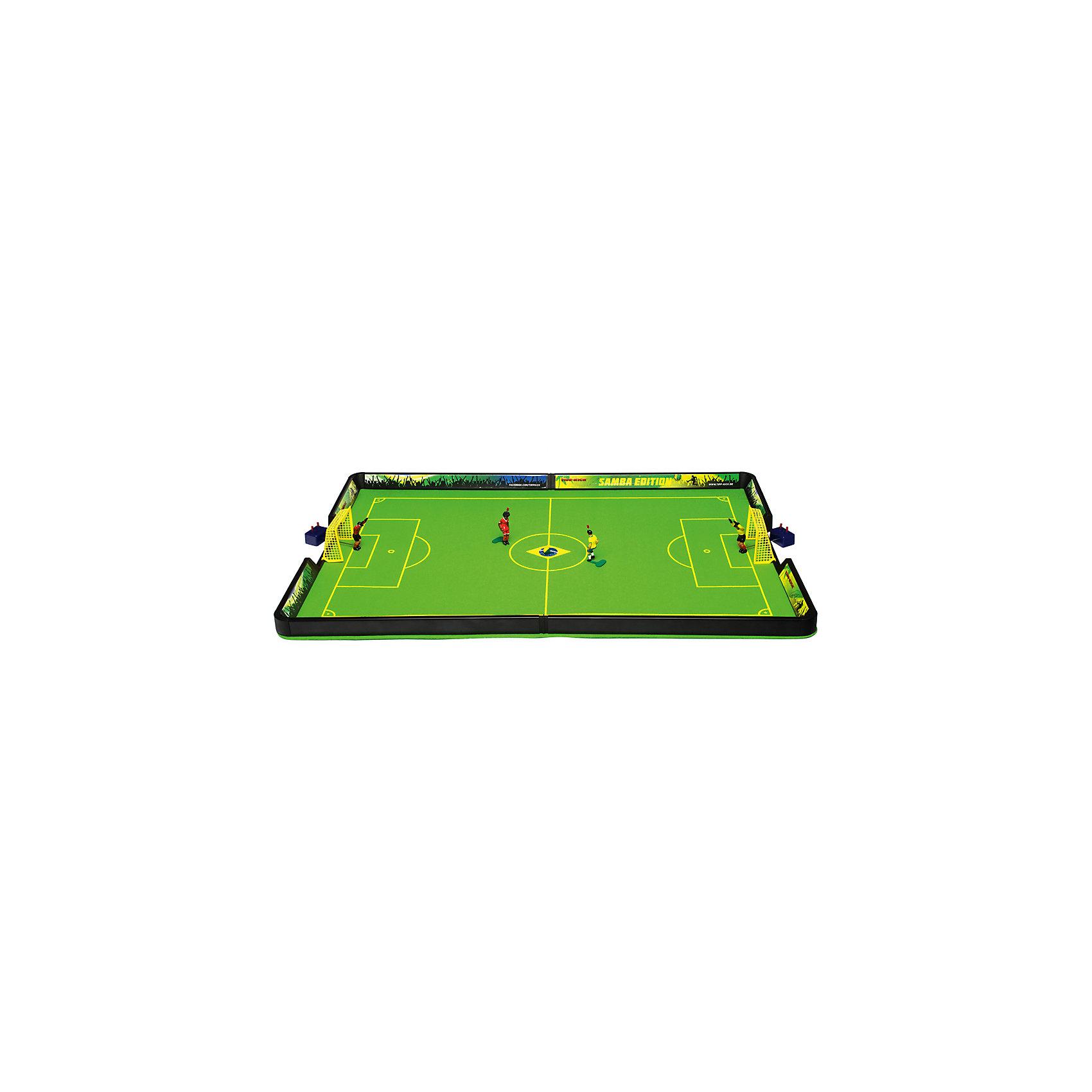Футбол настольный Самба 71 х 44см, TIPP-KICKФутбол настольный Самба 71 х 44см, TIPP-KICK - игра станет отличным подарком не только ребенку, но и взрослому, любящему спортивные игры.<br>Футбол настольный TIPP-KICK Самба выполнен в виде футбольного поля с Бразильской символикой и рекламными бордюрами. На футбольном войлочном поле зеленого цвета легко устанавливаются пластиковые ворота с натянутой сеткой. Ловкий вратарь оснащенный специальным механизмом, позволяющим фигурке двигаться из положения стоя в положение лежа, вправо, влево, отразит любую атаку противника на ворота, которую смогут организовать игроки в Ваших ловких руках. Вратари и игроки раскрашены в цвет своей команды. Перед началом игры каждый участник выбирает себе один из двух цветов, в которые окрашен мяч. В течение матча по этим цветам будет определяться, кто должен наносить удар по мячу. Например, если мяч лежит белой стороной вверх – бьет игрок, выбравший белый цвет; если мяч лежит черной стороной вверх – бьет игрок, выбравший черный цвет. В перерыве матча игроки меняются сторонами поля и цветами мяча. Удары по мячу наносят, нажимая на кнопку на голове полевого игрока. Победителем объявляется игрок, забивший больше голов, чем соперник. Игра развивает ловкость, быстроту реакции, стремление к победе и соревновательные навыки.<br><br>Дополнительная информация:<br><br>- В наборе: футбольное поле (разметка 71х44 см); 2 ворот; 2 вратаря на специальных механизмах, 2 игрока с встроенным механизмом; 2 двухцветных ребристых мяча; правила игры (на русском языке)<br>- Материал: пластик<br>- Упаковка: красочная картонная коробка<br>- Размер упаковки: 61х33х9 см.<br>- Вес: 1,2 кг.<br><br>Футбол настольный Самба 71 х 44см, TIPP-KICK можно купить в нашем интернет-магазине.<br><br>Ширина мм: 603<br>Глубина мм: 211<br>Высота мм: 317<br>Вес г: 1118<br>Возраст от месяцев: 36<br>Возраст до месяцев: 96<br>Пол: Мужской<br>Возраст: Детский<br>SKU: 3481413