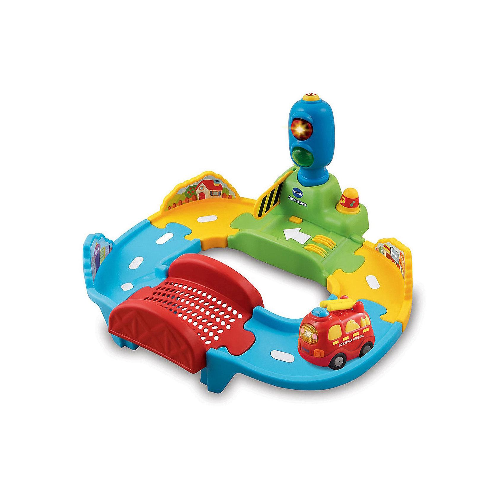Автотрек, VtechИнтерактивные игрушки для малышей<br>Автотрек, Vtech (Втеч).<br><br>Характеристики:<br><br>• Для детей от 1 года<br>• Комплектация: автотрек, пожарная машина<br>• Обучение: цвета, правила дорожного движения<br>• 9 мелодий и 2 песни из мультфильма<br>• Размер трека: 33х16х22 см.<br>• Материал: пластик<br>• Батарейки: 2xAAA, 2xAA (в комплекте демонстрационные)<br>• Упаковка: красочная подарочная коробка<br>• Размер упаковки: 27,9x27,9x13,3 см.<br><br>Автотрек от французской компании Vtech – красочный и увлекательный набор-конструктор, который надолго увлечет ребенка и сможет обучить его правилам дорожного движения. Набор представляет собой сборный автотрек, на котором есть светофор с тремя кнопками (желтая - включить/выключить, красная - правила дорожного движения, зеленая - световые эффекты), шлагбаум, мостик и различные сенсорные датчики. <br><br>В комплект также входит интерактивная говорящая пожарная машинка. Катая машинку по автотреку, ребенок будет слушать обучающие фразы, веселые звуки, мелодии, и узнает правила дорожного движения. Имеется звуковая кнопка-дорожный конус. Предусмотрен таймер автоматического отключения. Игрушка изготовлена из прочного безопасного не бьющегося пластика. Продается в красочной коробке и идеально подходит в качестве подарка. Трек можно дополнить другими интерактивными машинками от компании Vtech.<br><br>Автотрек, Vtech (Втеч) можно купить в нашем интернет-магазине.<br><br>Ширина мм: 130<br>Глубина мм: 280<br>Высота мм: 280<br>Вес г: 1100<br>Возраст от месяцев: 12<br>Возраст до месяцев: 36<br>Пол: Мужской<br>Возраст: Детский<br>SKU: 3482905