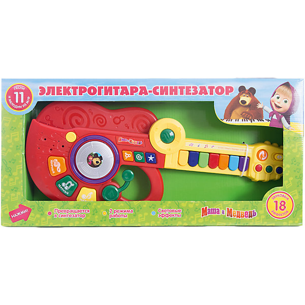 Гитара-синтезатор Маша и медведь, Играем вместеДругие музыкальные инструменты<br>Гитара-синтезатор Маша и медведь, Играем вместе — привлекательная игрушка для юных музыкантов. Сочинять свою музыку теперь можно с героями любимого мультсериала про Машу и Медведя! <br>Гитара имеет два режима работы:<br><br>- Режим проигрывания песенок. Нажимая на кнопочку, ребенок будет слышать песенку<br>- Режим свободной игры. Ребенок может самостоятельно придумывать свои мелодии, нажимая на клавиши.<br><br>Играя с гитарой-синтезатором ребёнок будет тренировать слуховое восприятие, которое является залогом развития речи.<br><br>Гитара-синтезатор «Маша и Медведь» станет прекрасным подарком для самых маленьких!<br><br>Дополнительная информация:<br><br>- 7 песенок<br>- Материал: высококачественная пластмасса<br>- Размеры упаковки(ДхШхВ): 7 x 47 x 23 см<br>- Вес: 690 г.<br><br>Игрушку Гитара-синтезатор Маша и медведь, Играем вместе можно купить в нашем интернет-магазине.<br><br>Ширина мм: 70<br>Глубина мм: 470<br>Высота мм: 230<br>Вес г: 690<br>Возраст от месяцев: 36<br>Возраст до месяцев: 1188<br>Пол: Унисекс<br>Возраст: Детский<br>SKU: 3482908