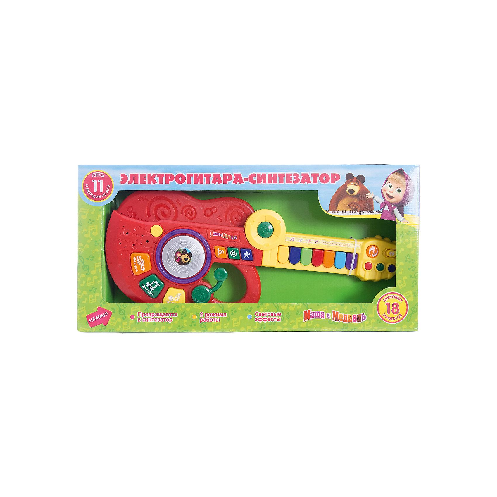 Гитара-синтезатор Маша и медведь, Играем вместеИгрушки<br>Гитара-синтезатор Маша и медведь, Играем вместе — привлекательная игрушка для юных музыкантов. Сочинять свою музыку теперь можно с героями любимого мультсериала про Машу и Медведя! <br>Гитара имеет два режима работы:<br><br>- Режим проигрывания песенок. Нажимая на кнопочку, ребенок будет слышать песенку<br>- Режим свободной игры. Ребенок может самостоятельно придумывать свои мелодии, нажимая на клавиши.<br><br>Играя с гитарой-синтезатором ребёнок будет тренировать слуховое восприятие, которое является залогом развития речи.<br><br>Гитара-синтезатор «Маша и Медведь» станет прекрасным подарком для самых маленьких!<br><br>Дополнительная информация:<br><br>- 7 песенок<br>- Материал: высококачественная пластмасса<br>- Размеры упаковки(ДхШхВ): 7 x 47 x 23 см<br>- Вес: 690 г.<br><br>Игрушку Гитара-синтезатор Маша и медведь, Играем вместе можно купить в нашем интернет-магазине.<br><br>Ширина мм: 70<br>Глубина мм: 470<br>Высота мм: 230<br>Вес г: 690<br>Возраст от месяцев: 36<br>Возраст до месяцев: 1188<br>Пол: Унисекс<br>Возраст: Детский<br>SKU: 3482908