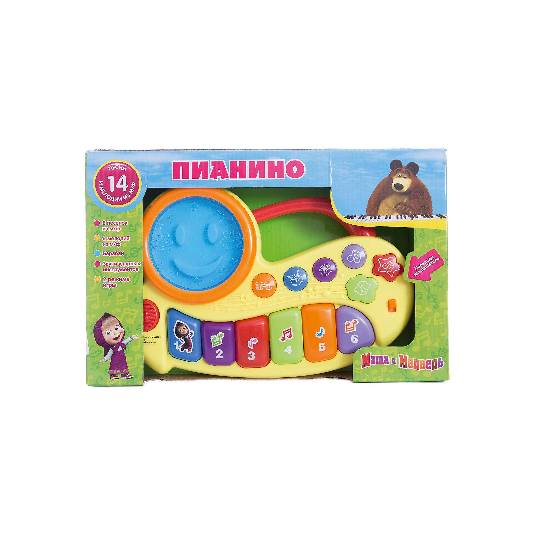 Пианино Маша и медведь, со светом, Играем вместеПианино Маша и медведь, со светом, Играем вместе. Теперь придумывать свою музыку стало еще интереснее, а герои любимого мультфильма Маша и Медведь помогут Вашему ребенку в этом! <br><br>Пианино имеет два режима работы:<br><br>- Режим проигрывания песенок. Нажимая на кнопочку, ребенок будет слышать песенку<br>- Режим свободной игры. Ребенок может самостоятельно придумывать свои мелодии, нажимая на клавиши.<br><br>Игрушка выполнена в ярких цветах, которые привлекут внимание вашего малыша.<br><br>Пианино «Маша и Медведь» станет прекрасным подарком для самых маленьких!<br><br>Дополнительная информация:<br><br>- Материал: высококачественная пластмасса<br>- Размеры упаковки(ДхШхВ): 5 x 21 x 33 см<br>- Вес: 470 г.<br>- Размер коробки: 33х21х5 см<br>- Работает от 3 батареек типа АА (в комплект не входят)<br><br>Игрушку Пианино Маша и медведь, со светом, Играем вместе можно купить в нашем интернет-магазине.<br><br>Ширина мм: 50<br>Глубина мм: 210<br>Высота мм: 330<br>Вес г: 470<br>Возраст от месяцев: 36<br>Возраст до месяцев: 1188<br>Пол: Унисекс<br>Возраст: Детский<br>SKU: 3482909