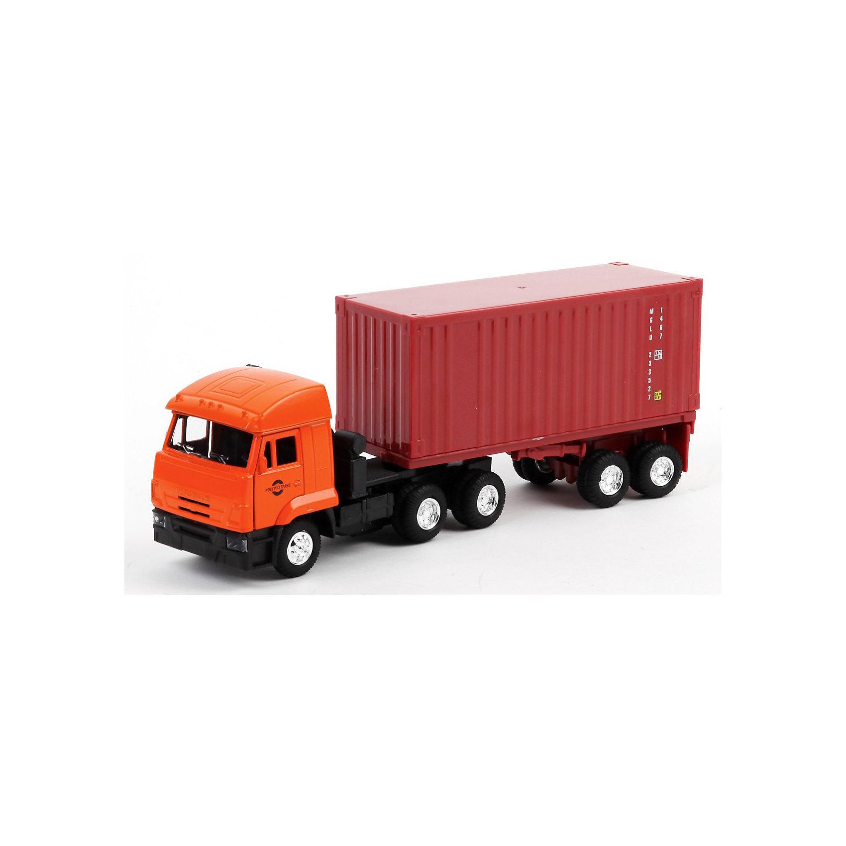 КАМАЗ 1:43, инерц., свет, звук, ТЕХНОПАРКМашина КАМАЗ, Технопарк со световыми и звуковыми эффектами — модель настоящего грузового автомобиля, выполненная в масштабе 1:43. Коллекционная модель выполнена из металла. Дверки водительской кабины открываются, также открываются двери контейнера, сам контейнер снимается с площадки. Машинка имеет инерционный механизм, стоит откатить машинку назад и отпустить, и она быстро поедет вперед!<br>В процессе игры с маленьким автомобилем развивается воображение и мелкая моторика.<br><br>Машинка станет хорошей игрушкой для ребенка и отличным дополнением к любой коллекции масштабных автомоделей.<br><br>Дополнительная информация:<br><br>- Материал: высококачественная пластмасса<br>- Размеры упаковки(ДхШхВ): 7 x 29 x 12 см<br>- Вес: 420 г.<br><br>КАМАЗ 1:43, с инерционным механизмом, световыми и звуковыми эффектами, ТЕХНОПАРК можно купить в нашем интернет-магазине.<br><br>Ширина мм: 70<br>Глубина мм: 290<br>Высота мм: 120<br>Вес г: 420<br>Возраст от месяцев: 36<br>Возраст до месяцев: 1188<br>Пол: Мужской<br>Возраст: Детский<br>SKU: 3482913