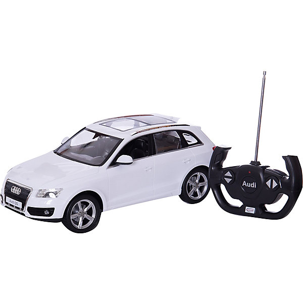 Машина AUDI Q5 1:14, свет, на р/у, RASTARРадиоуправляемые машины<br>Радиоуправляемая машина AUDI Q5 — это точная копия автомобиля известной марки, выполненной в масштабе 1:14, производителя RASTAR.<br>С помощью пульта управления машинка двигается вперед-назад, вправо-влево. При движении вперед, у машинки загораются фары. При движении назад - загораются стоп-сигналы.<br><br>С радиоуправляемым автомобилем  AUDI Q5 игра станет настолько увлекательной, что оторваться будет невозможно!<br><br>Дополнительная информация:<br><br>- Пульт радиоуправления на частоте 27MHz.<br>- Материал: высококачественная пластмасса<br>- Размеры(ДхШхВ): 22 x 45 x 20 см<br>- Батарейки: 5 х АА, 1 х «Крона», в комплект не входят<br>- Вес: 1,55 кг<br><br>Машину AUDI Q5 1:14, свет, на р/у, RASTAR можно купить в нашем интернет-магазине.<br><br>Ширина мм: 220<br>Глубина мм: 450<br>Высота мм: 200<br>Вес г: 1550<br>Возраст от месяцев: 36<br>Возраст до месяцев: 1188<br>Пол: Мужской<br>Возраст: Детский<br>SKU: 3482936