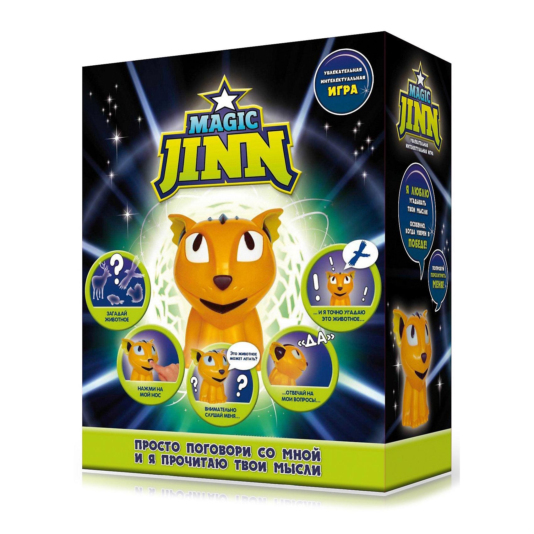 Интерактивная игрушка Джин Magic Jinn AnimalsИнтерактивные животные<br>Интерактивная игрушка Magic Jinn Animals -  волшебный джинн, который прочитает Ваши мысли и угадает название животного, которое вы загадали!<br><br>Благодаря ряду наводящих вопросов, джинн определит, о каком именно животном вы думаете. Задавая наводящие вопросы, например: Это животное может летать?, он будет пытаться угадать задуманное вами животное. Джин обязательно угадает животное, задав не больше двенадцати вопросов.<br>Отвечать на вопросы нужно только фразами которые понимает маленький Джинн: - Я готов; - Да; - Нет; - Я не знаю; - Кажется да; - Повтор; - Назад.<br>Все звуки и фразы сопровождаются подсветкой глаз зверька.<br>Умный Джинн знает множество различных животных, рыб, птиц и даже насекомых, попробуй перехитри его!<br><br>Игрушка оснащена функцией автоматического отключения при нахождении в неактивном режиме более 60 секунд. Магический Джинн полностью русифицирована и профессионально озвучена.<br><br>Дополнительная информация:<br><br>- В комплект входит: Интерактивная игрушка Magic Jinn Animals - 1 шт.<br>- Материал: пластмасса.<br>- Питание (батарейки): 3 x AAA / LR03 1.5V (не входят в комплект).<br>-Размер игрушки: 11 х 7.5 см.<br>- Размер упаковки: : 22 х 10 х 24см.<br><br>Интерактивную игрушку Magic Jinn Animals можно купить в нашем интернет-магазине.<br><br>Ширина мм: 220<br>Глубина мм: 100<br>Высота мм: 240<br>Вес г: 360<br>Возраст от месяцев: 36<br>Возраст до месяцев: 144<br>Пол: Унисекс<br>Возраст: Детский<br>SKU: 3485026