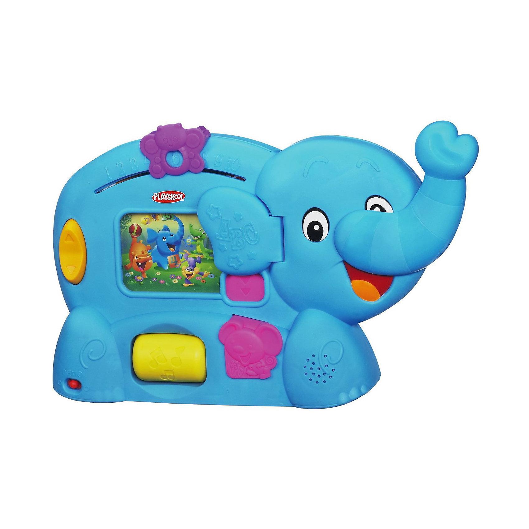 Обучающая игрушка Слоник, PlayskoolИнтерактивные игрушки для малышей<br>Обучающая игрушка Слоник, Playskool - это настоящий учитель для Вашего ребенка. Слоник поможет Вашему малышу выучить: буквы, слова, счет, цвета, формы, манеры и многое другое! <br><br>На у слоника расположен экран, где по очередности будут показываться все его друзья. Бабочка, расположенная в верхней части, научит  ребенка считать до 10! <br>Также игрушка развивает мелкую моторику: чтобы начать игру, нужно опустить вниз хобот слоника. <br>Нажмите на мышку, чтобы узнать все о цветах и формах. <br>Слоник говорит по-русски. <br>Продается в открытой упаковке с функцией TRY ME.<br><br>Дополнительная информация:<br><br>- В комплекте: обучающая игрушка Слоник.<br>- Материал: пластмасса.<br>- Интерактивные функции: учит цветам, формам, счету.<br>- Игрушка руссифицирована.<br>- Функция: Try me (тестовый режим).<br>- Размер игрушки: ок.38 см.<br>- Питание: батарейки ААх3 шт.<br><br>Обучающую игрушку Слоник, Playskool можно купить в нашем интернет-магазине.<br><br>Ширина мм: 79<br>Глубина мм: 381<br>Высота мм: 318<br>Вес г: 1383<br>Возраст от месяцев: 6<br>Возраст до месяцев: 24<br>Пол: Унисекс<br>Возраст: Детский<br>SKU: 3486805