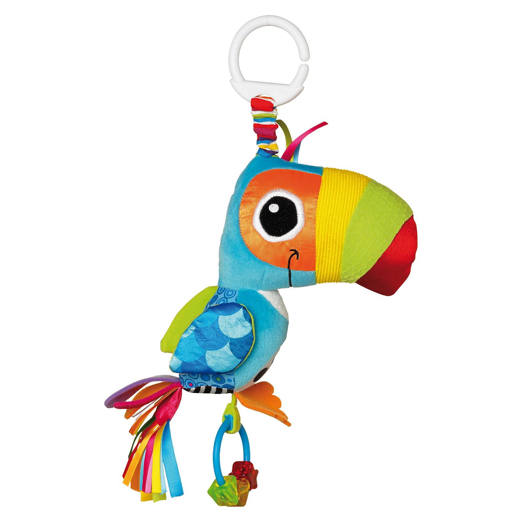 Игрушка Веселый Тукан, LamazeПодвески<br>Игрушка Веселый Тукан, Lamaze - замечательная красочная игрушка, которая обязательно привлечет внимание Вашего малыша. Игрушка выполнена в виде симпатичной нарядной птички с хвостом из ярких атласных лент, легко крепится к детской кроватке, коляске или автокреслу. У игрушки множество разноцветных деталей из мягких материалов различной фактуры, что способствует развитию тактильного и цветового восприятия, тренирует мелкую моторику ребенка. При нажатии на клюв птичка пищит, в лапках она держит кольцо-прорезыватель с разноцветными фигурками. При прикосновении игровые элементы издают разнообразные шуршащие звуки. <br><br>Дополнительная информация:<br><br>- Материал: текстиль.<br>- Размер упаковки: 7,62 х 22,9 х 28,3 см.<br>- Вес: 0,11 кг.<br><br>Игрушку Веселый Тукан, Lamaze, можно купить в нашем интернет-магазине.<br><br>Ширина мм: 260<br>Глубина мм: 147<br>Высота мм: 83<br>Вес г: 108<br>Возраст от месяцев: 0<br>Возраст до месяцев: 18<br>Пол: Унисекс<br>Возраст: Детский<br>SKU: 3487477