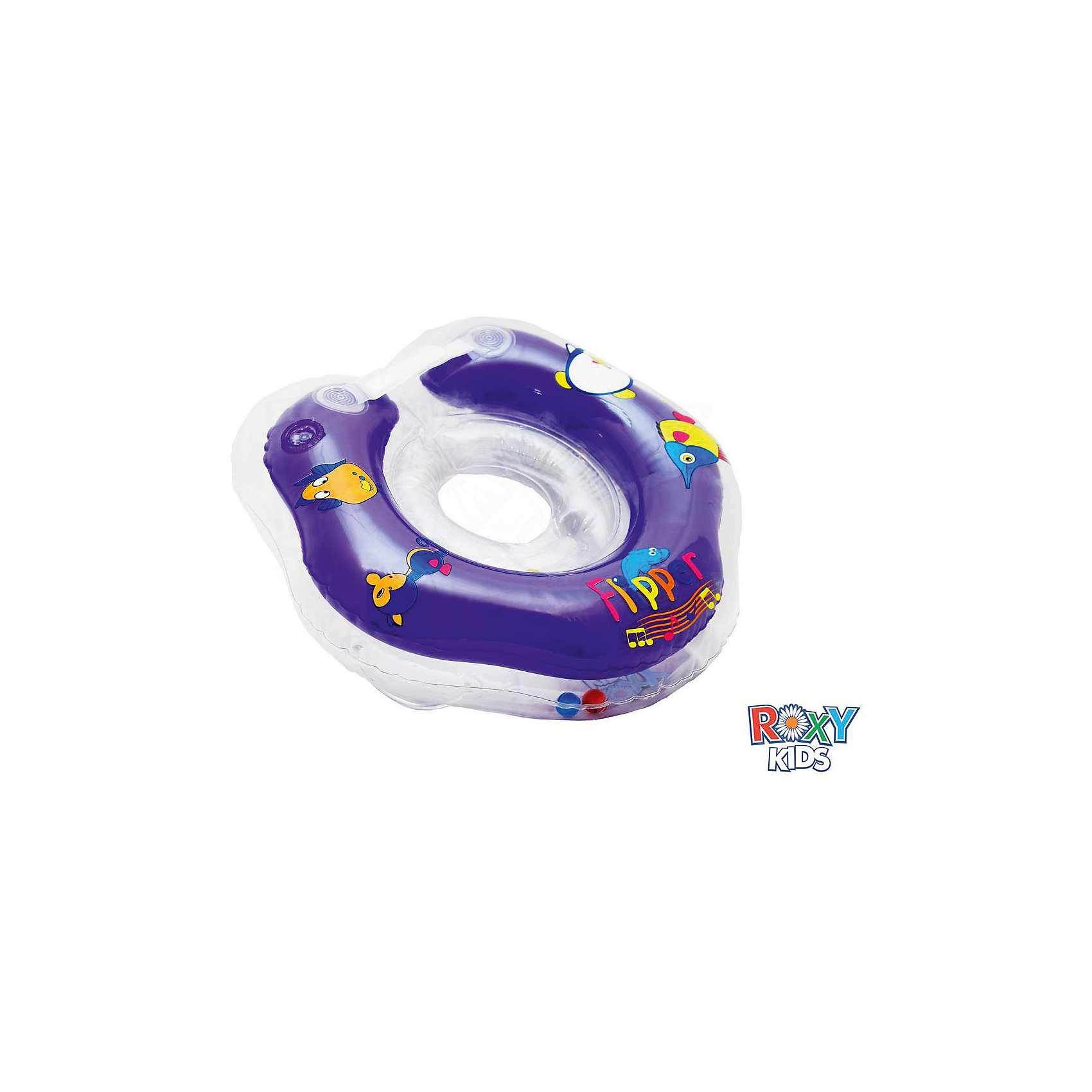 Музыкальный надувной круг на шею  Flipper 0+ для купания малышей, Roxy-Kids от myToys