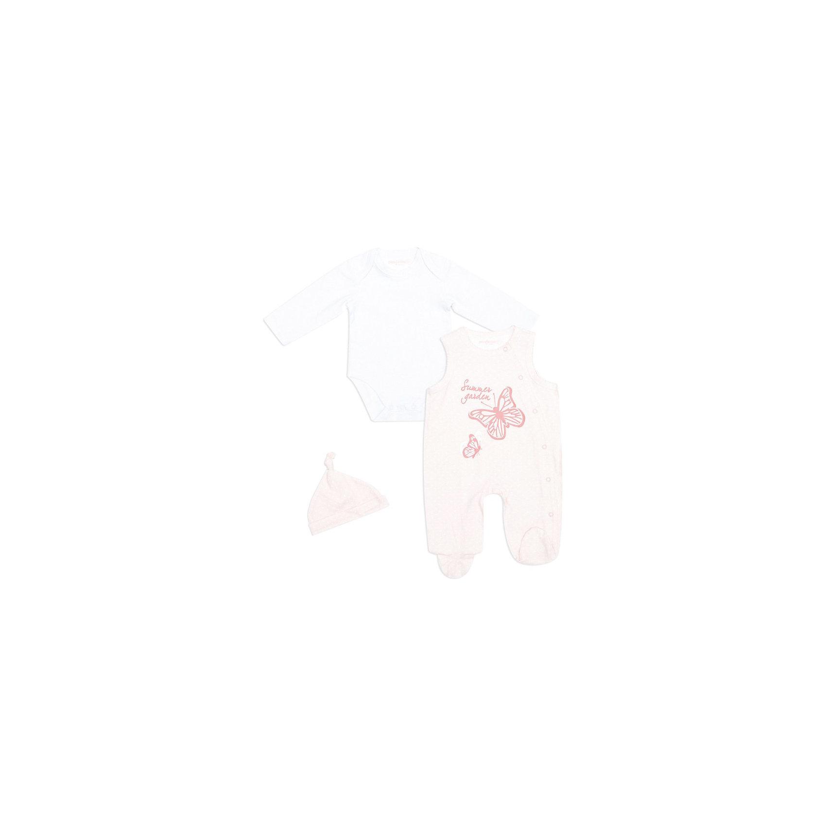 Комплект:боди+полукомбинезон, шапка для девочки PlayTodayКомплект:боди+полукомбинезон, шапка для девочки от PLayToday.<br>* превосходный комплект для новорожденного малыша<br>* комплект состоит из шапочки, боди и ползунков<br>* наружные швы<br>* подарочный комплект упакован в подарочную коробку???<br>Шапочка:<br>* мягкая шапочка из двойного трикотажа плотно прилегает к голове <br>* модель украшена узелком на макушке<br>Боди:<br>* боди с длинным рукавом из хлопкового трикотажа<br>* округлый вырез горловины <br>* потайная застежка на кнопки в плевых швах<br>* для смены подгузника предусмотрены кнопки снизу боди<br>Ползунки:<br>* модель с округлым вырезом горловины, без рукавов<br>* ассиметричная линия застежки на кнопки по всей длине ползунков<br>* горловина и пройма украшены ажурной строчкой<br>* принт<br><br>Состав:<br>95% хлопок, 5% эластан<br><br>Комплект:боди+полукомбинезон, Шапку для девочки PlayToday (Плэйтудей) можно купить в нашем магазине.<br><br>Ширина мм: 157<br>Глубина мм: 13<br>Высота мм: 119<br>Вес г: 200<br>Цвет: бело-розовый<br>Возраст от месяцев: 6<br>Возраст до месяцев: 9<br>Пол: Женский<br>Возраст: Детский<br>Размер: 74,62,68,56<br>SKU: 3514060