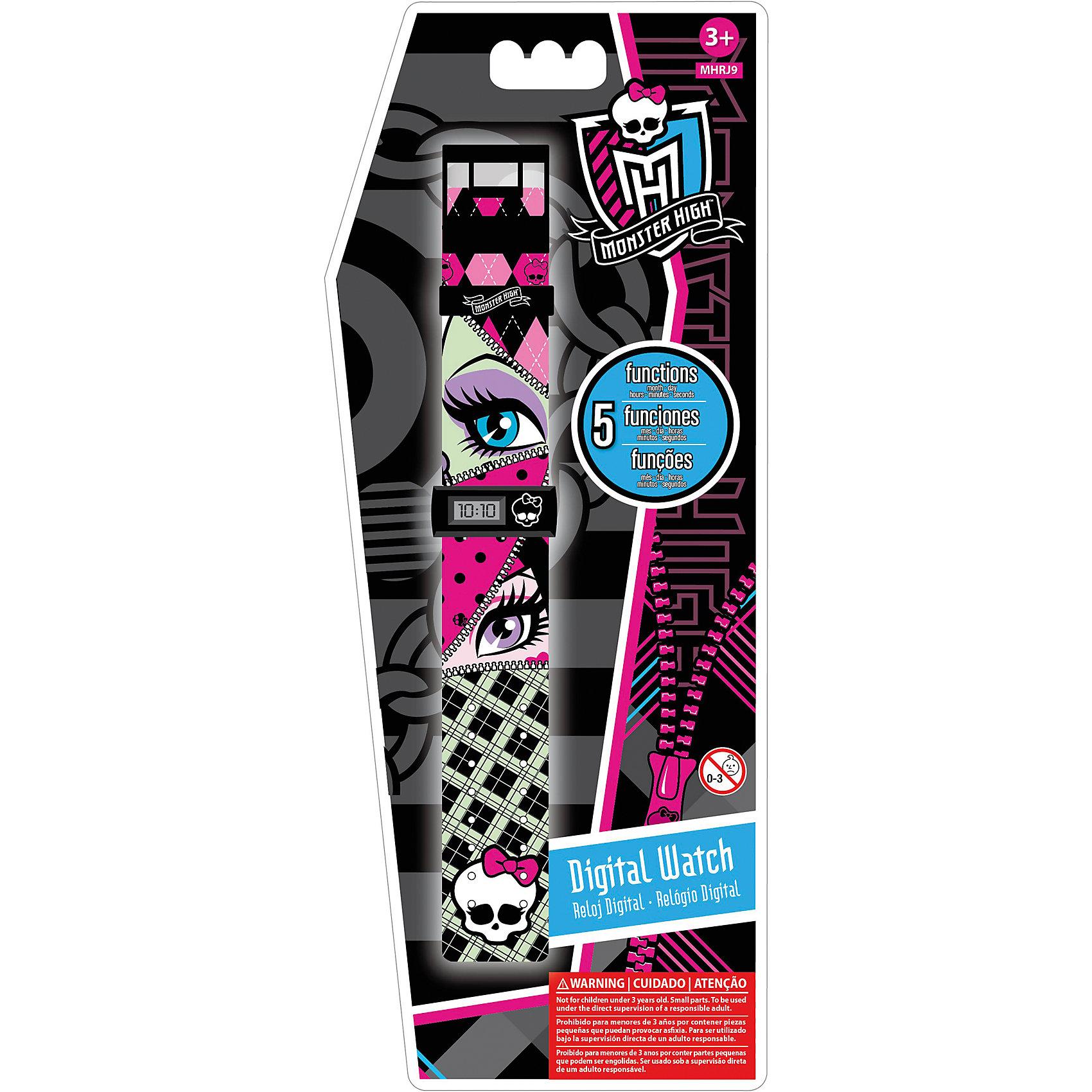 Часы наручные электронные Monster HighMonster High<br>Часы наручные электронные, Monster High (Школа Монстров) - стильный подарок настоящим фанатам Школы Монстров.<br>Оригинальные черные прямоугольные детские часы с корпусом и браслетом из пластика. Часы имеют 5 функций: месяц, день, часы, минуты и секунды. <br><br>Дополнительная информация:<br><br>- Размер циферблата часов: 3х1,5см.<br>- Длина ремешка с часами: 21см.<br>- Ширина ремешка: 3см.<br>- Возраст от 3 лет (товар содержит мелкие детали).<br>- Срок гарантии часов - 6 месяцев<br><br>Часы наручные электронные, Monster High (Школа Монстров) можно купить в нашем интернет-магазине.<br><br>Ширина мм: 113<br>Глубина мм: 13<br>Высота мм: 278<br>Вес г: 48<br>Возраст от месяцев: 36<br>Возраст до месяцев: 144<br>Пол: Женский<br>Возраст: Детский<br>SKU: 3514686